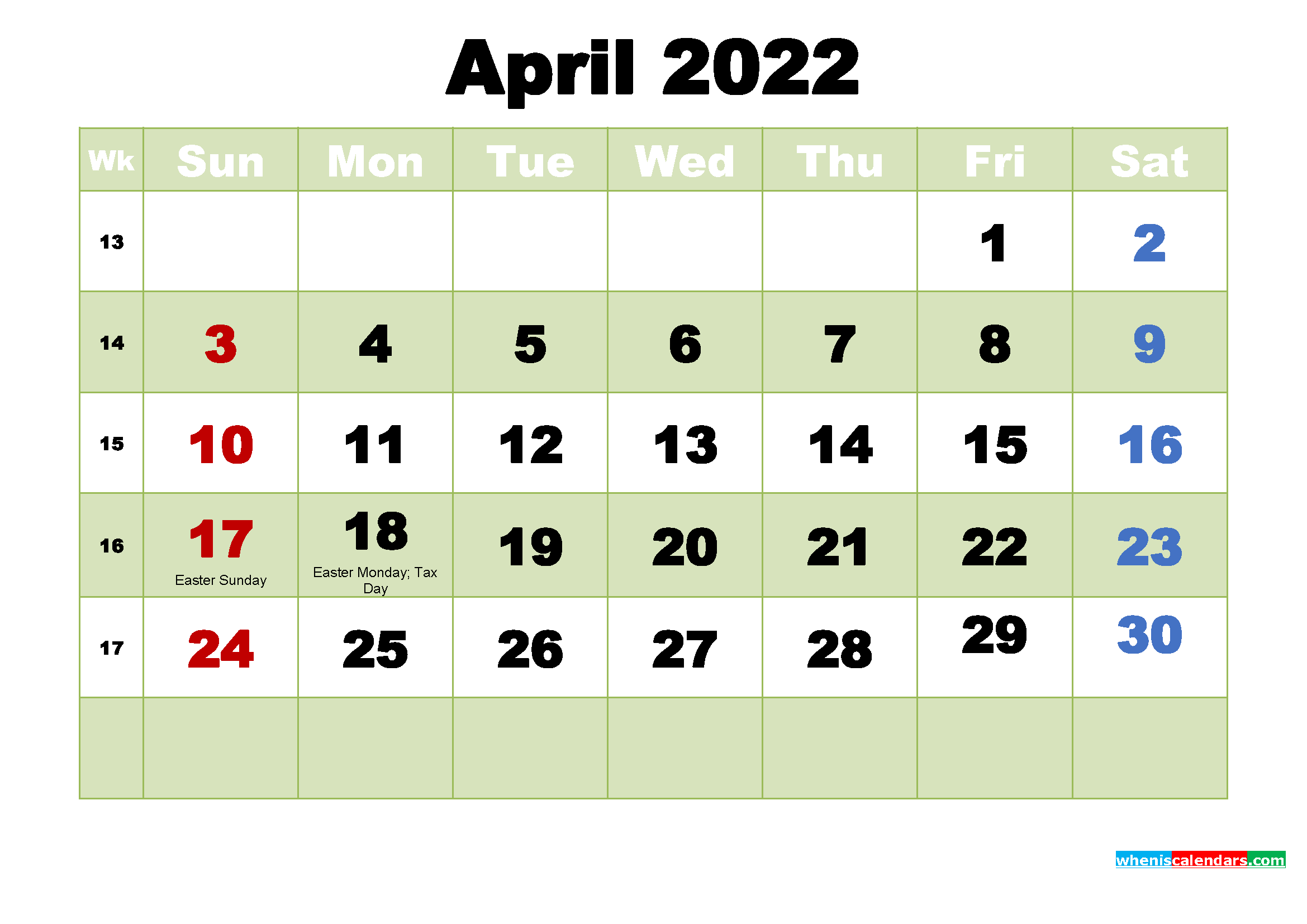 Printable Calendar for April 2022