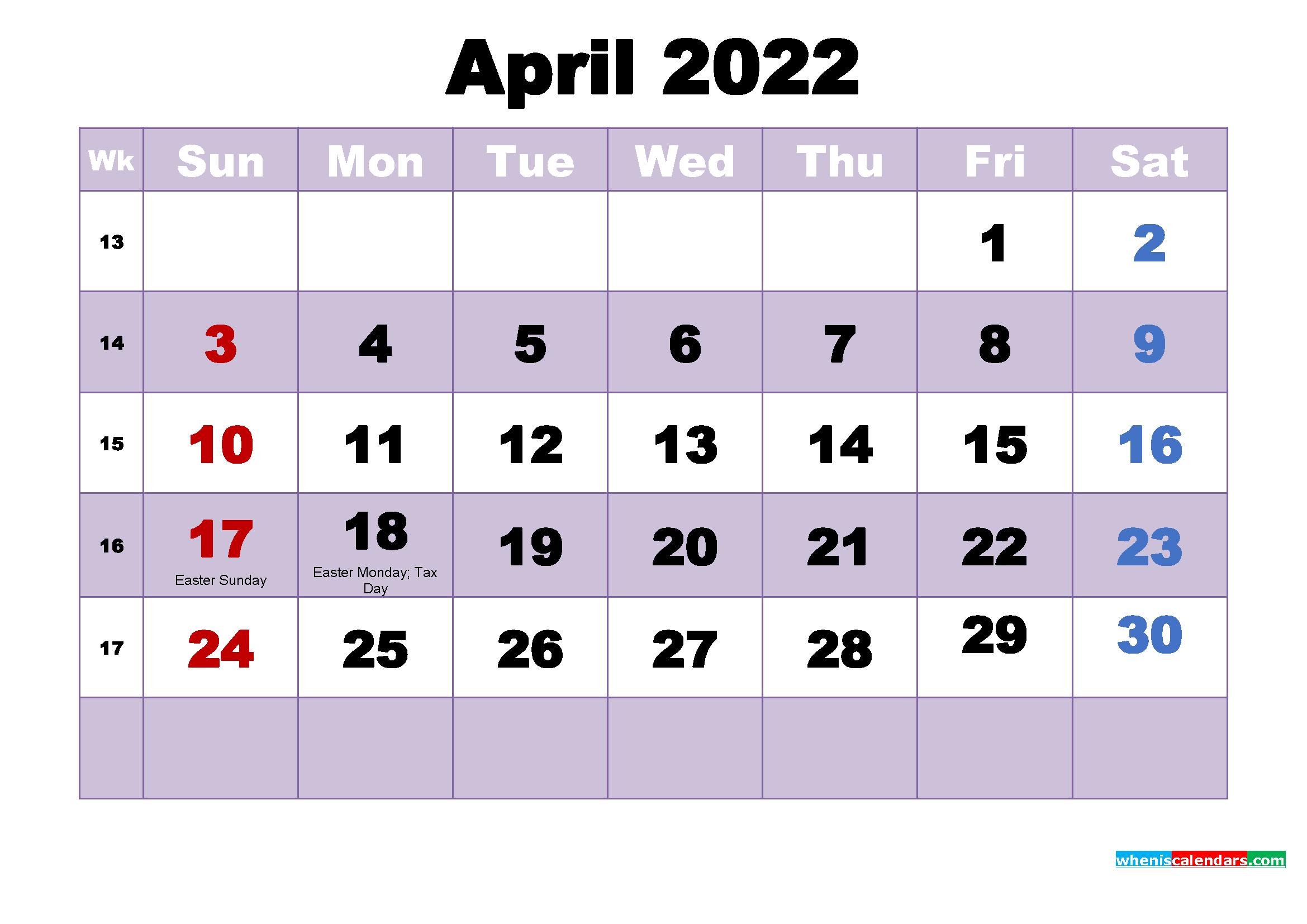 April 2022 Calendar Wallpaper Free Download