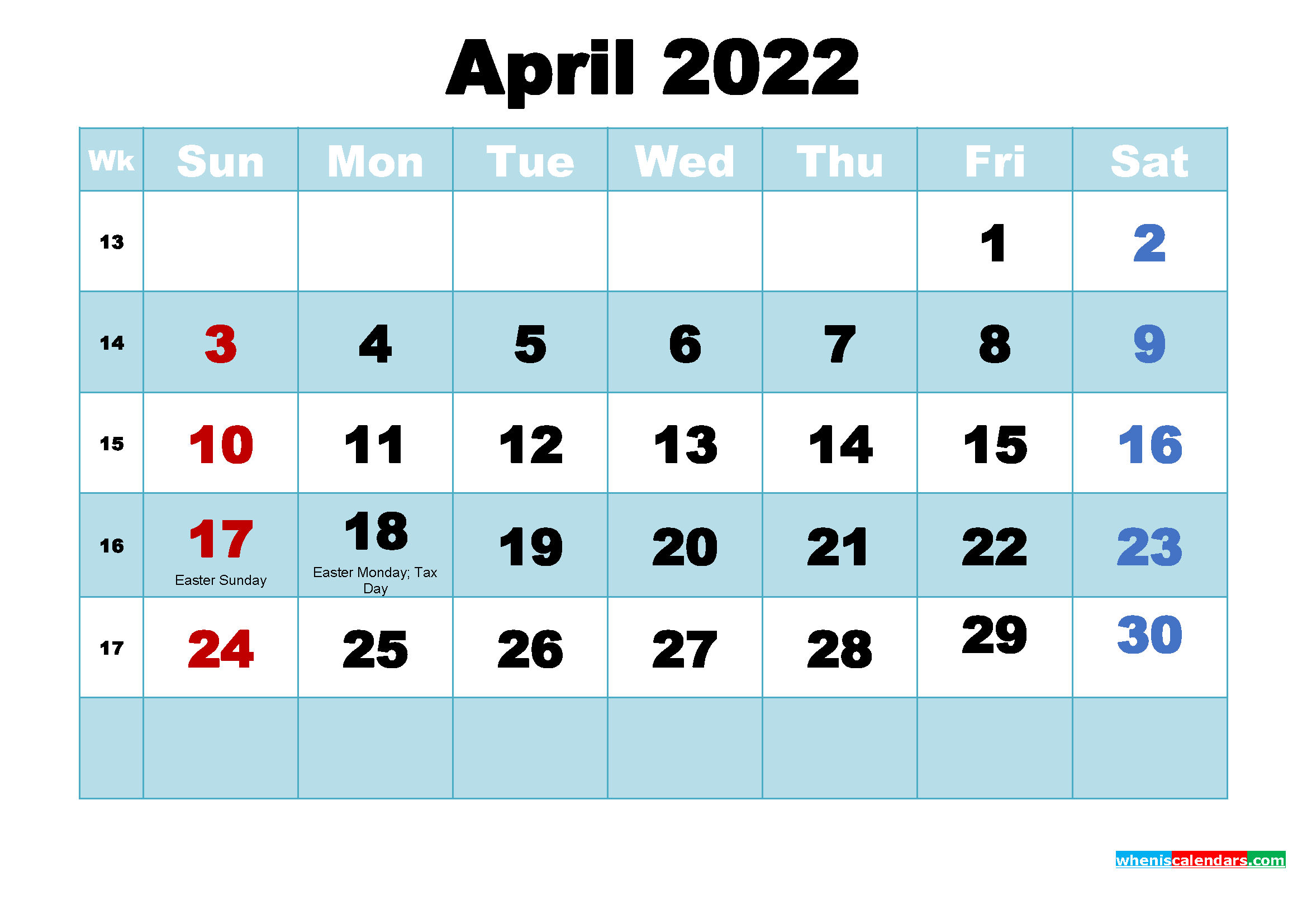 Free Printable April 2022 Calendar with Holidays as Word, PDF