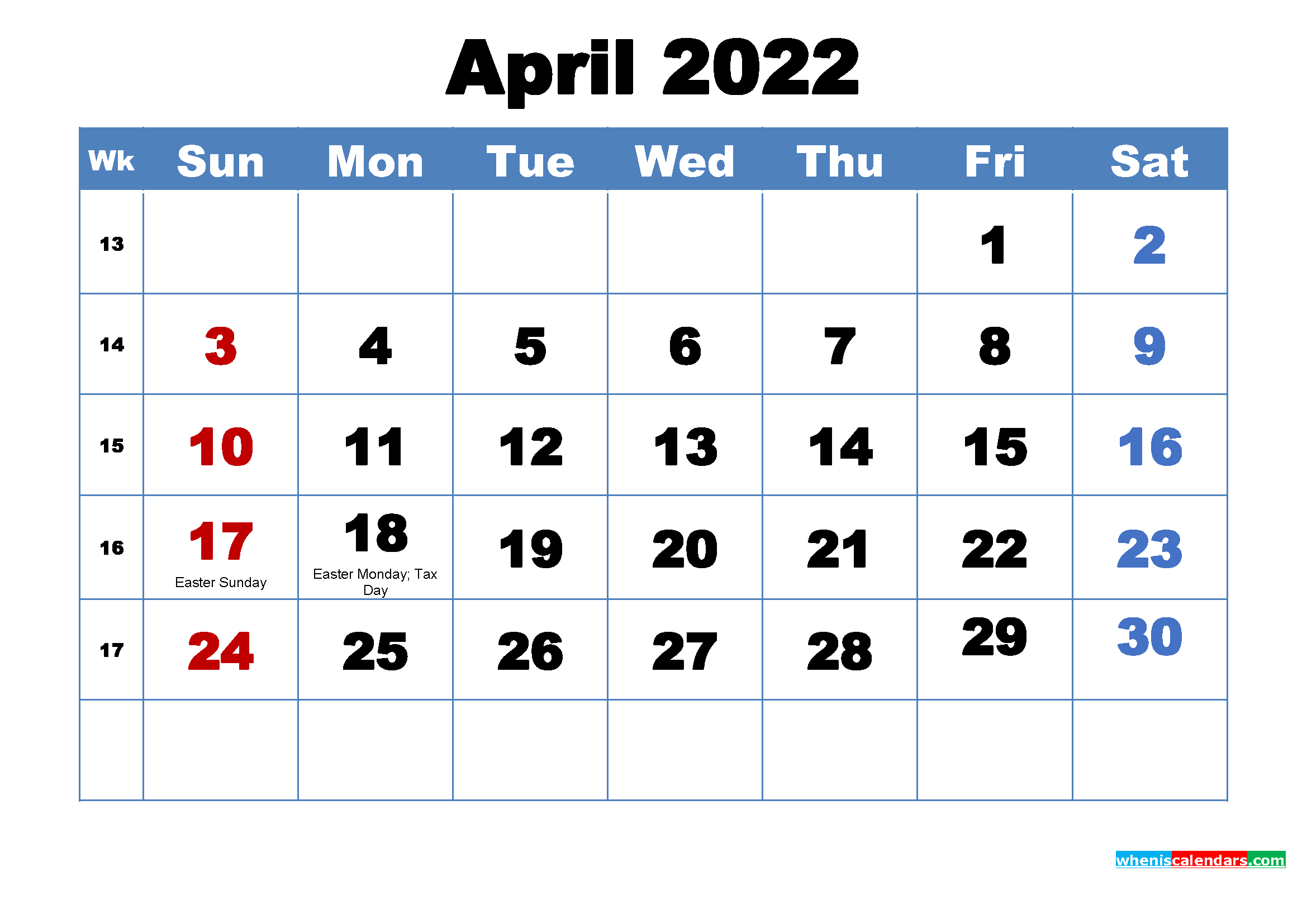 Printable 2022 Calendar by Month April