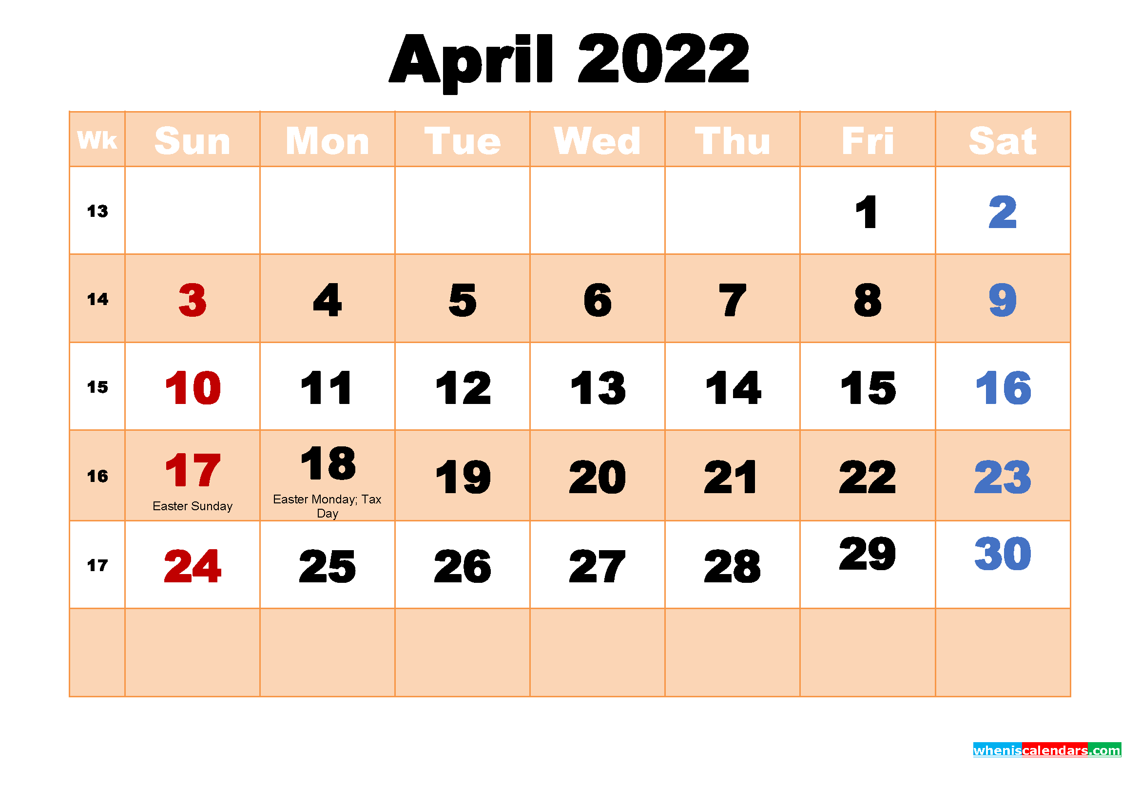 April 2022 Calendar with Holidays Wallpaper
