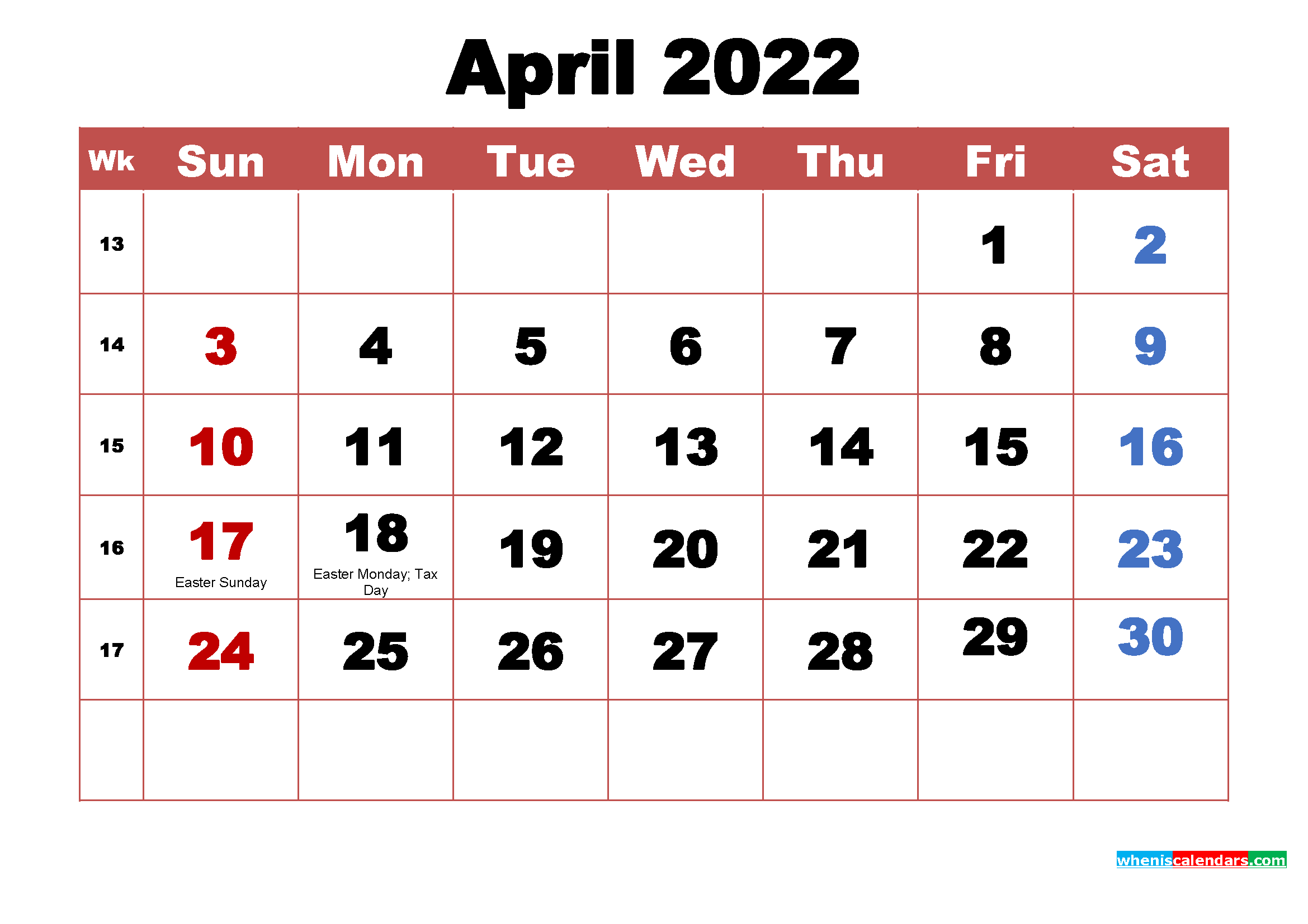 Printable 2022 Calendar with Holidays April