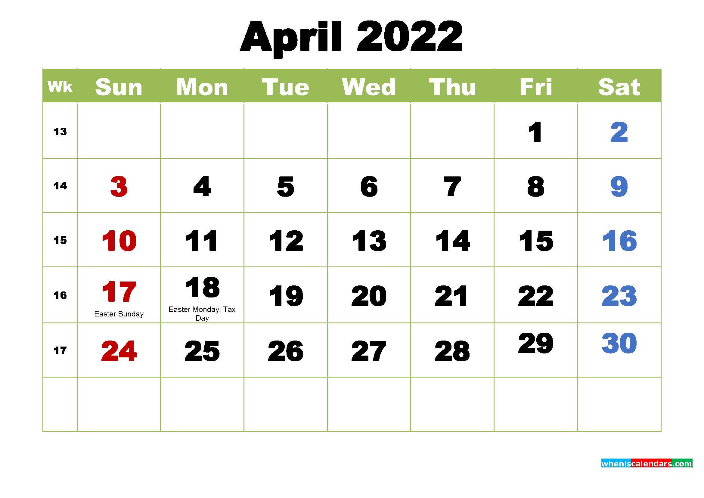 Free Printable 2022 Calendar with Holidays April