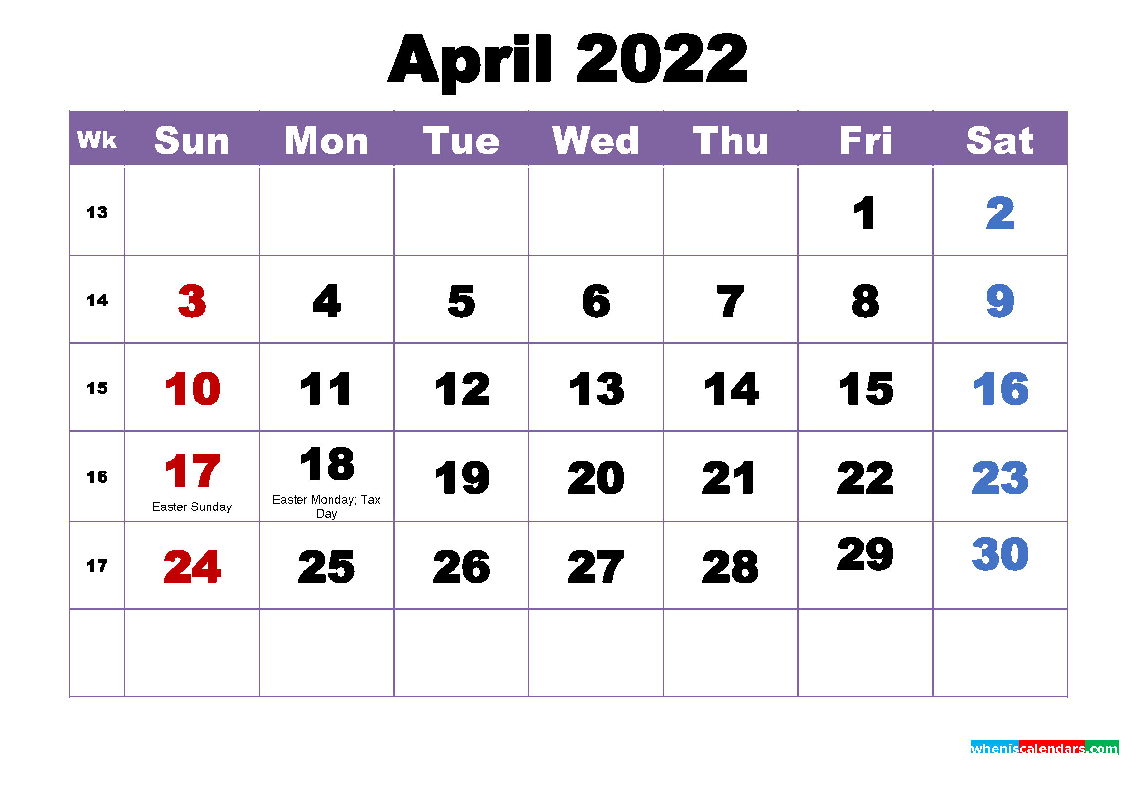 Free Printable 2022 Monthly Calendar with Holidays April
