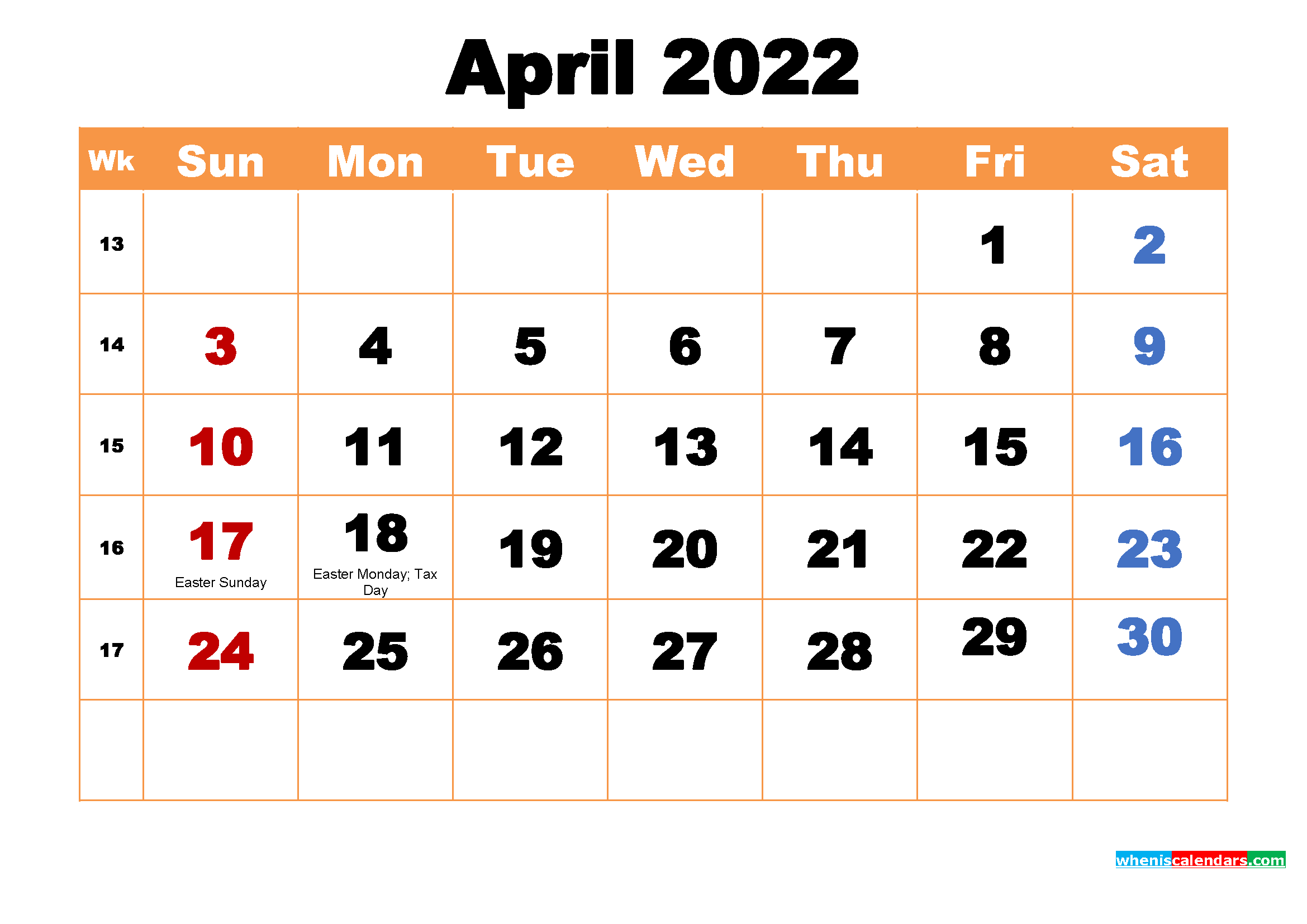 April 2022 Printable Monthly Calendar with Holidays