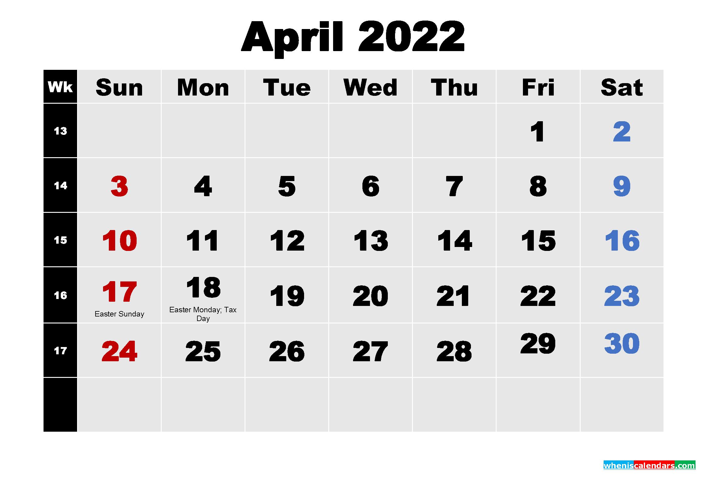 April 2022 Desktop Calendar High Resolution