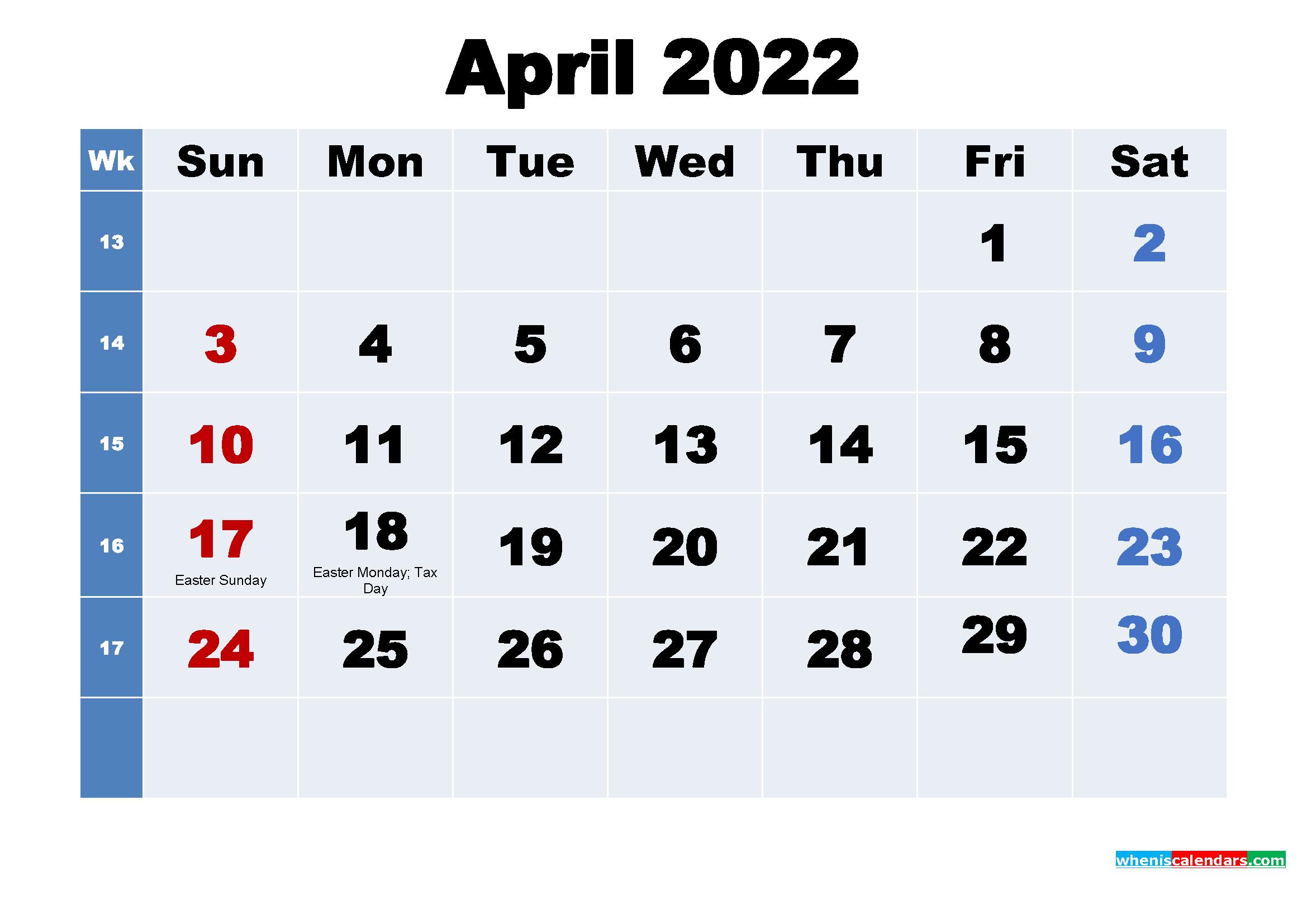 April 2022 Desktop Calendar with Holidays