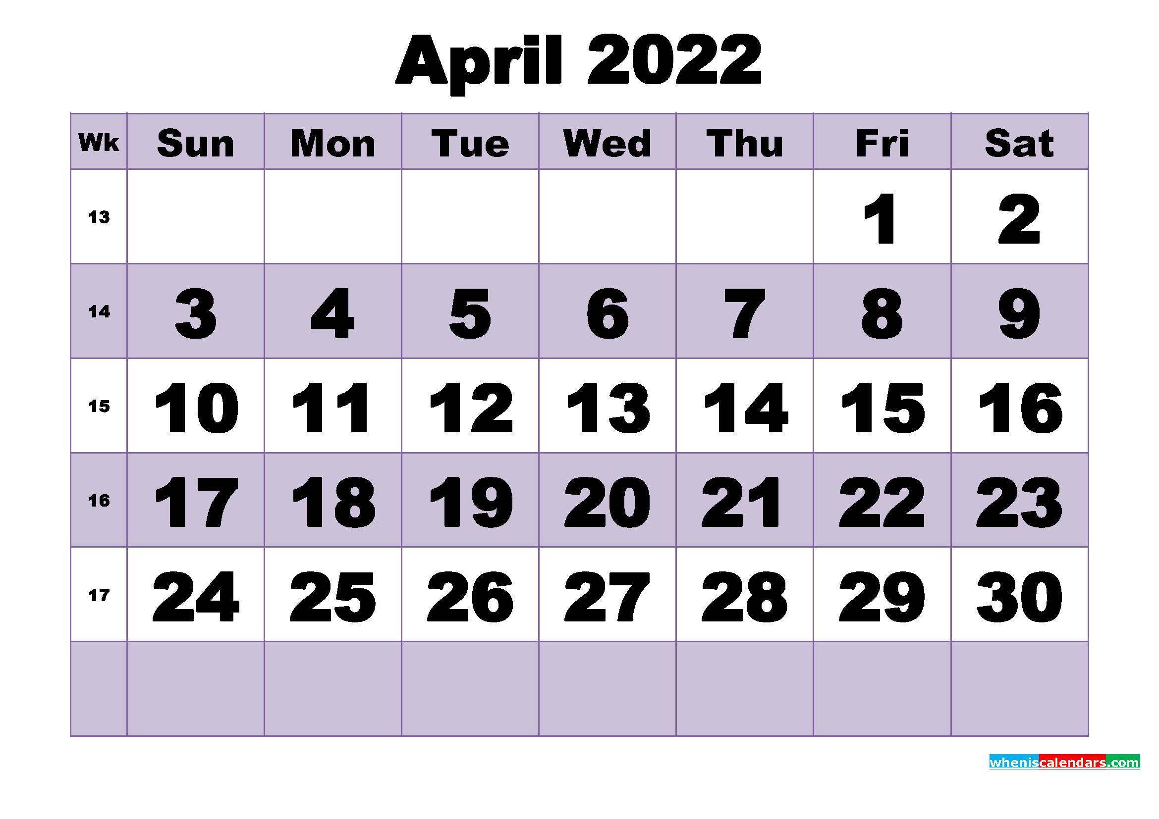 Free April 2022 Printable Monthly Calendar Template