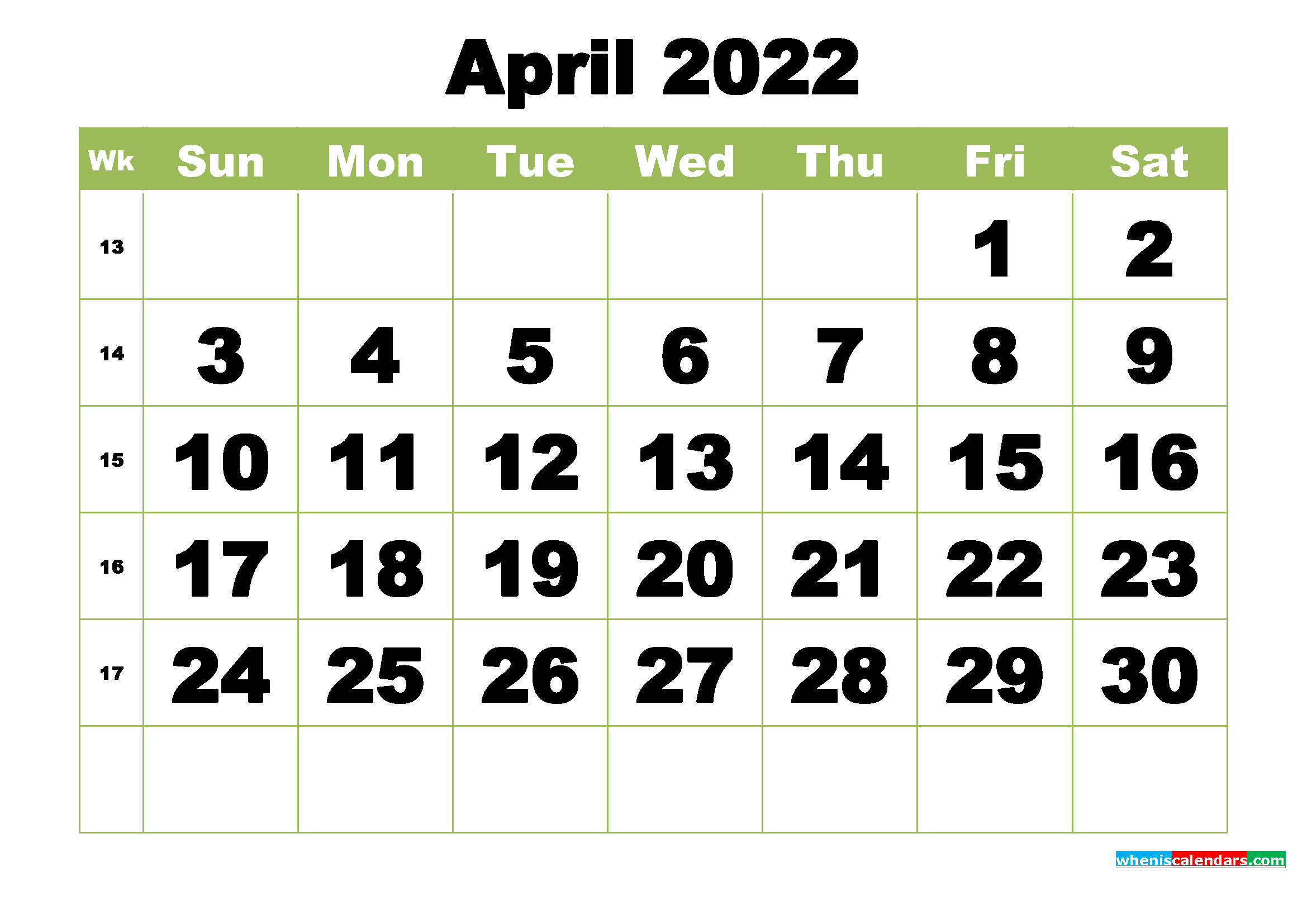 Free Printable Monthly Calendar April 2022