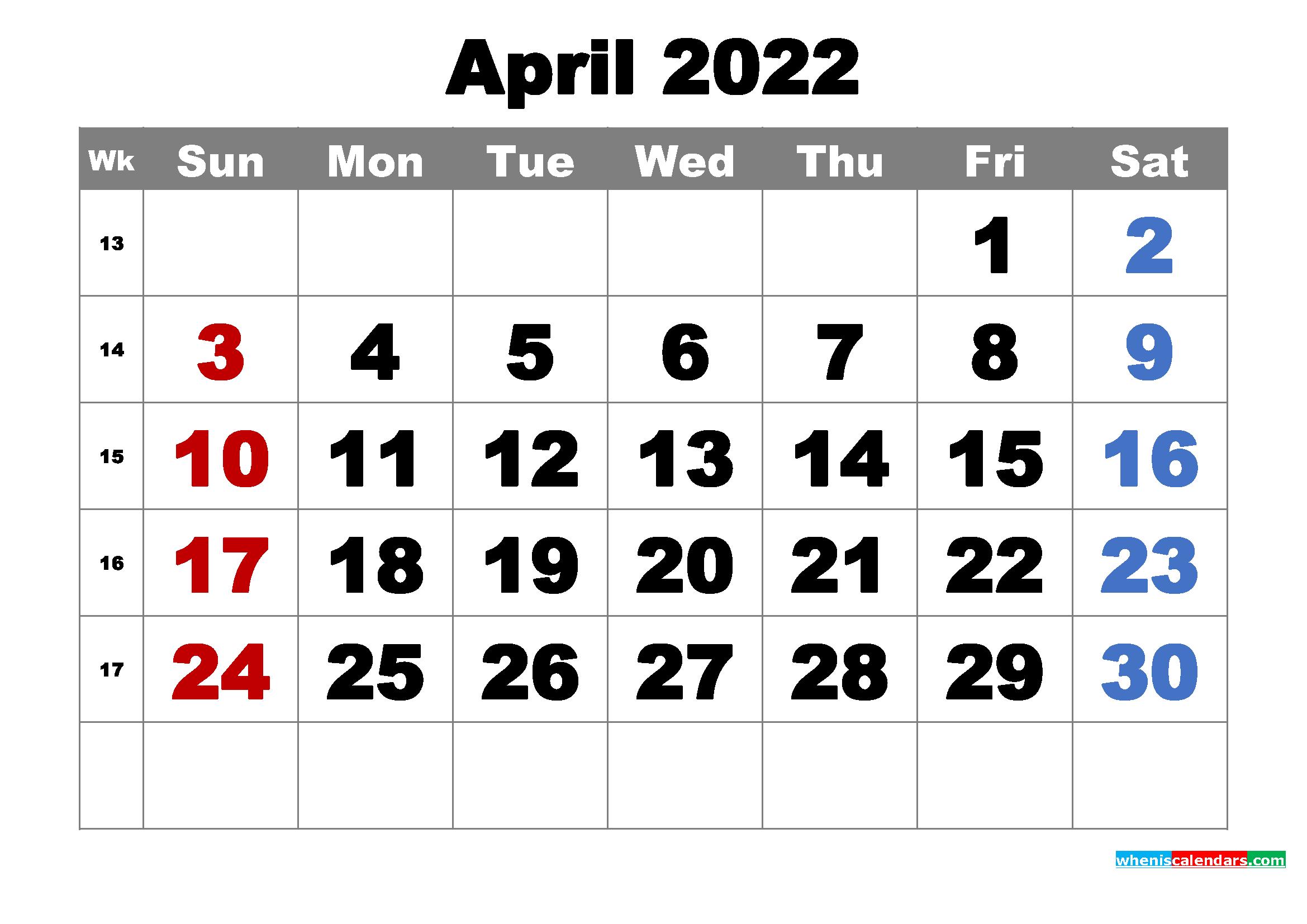 Free Printable April 2022 Calendar Word, PDF, Image - Free ...