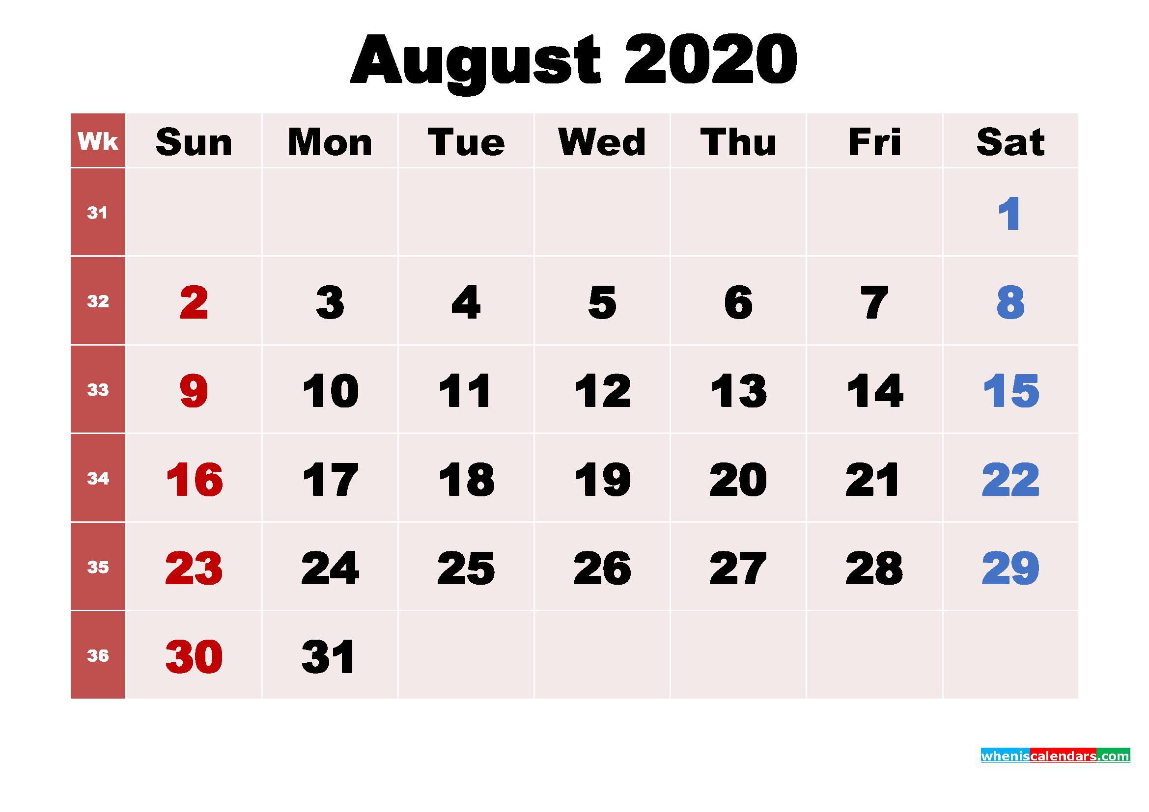 August 2020 Desktop Calendar Monthly