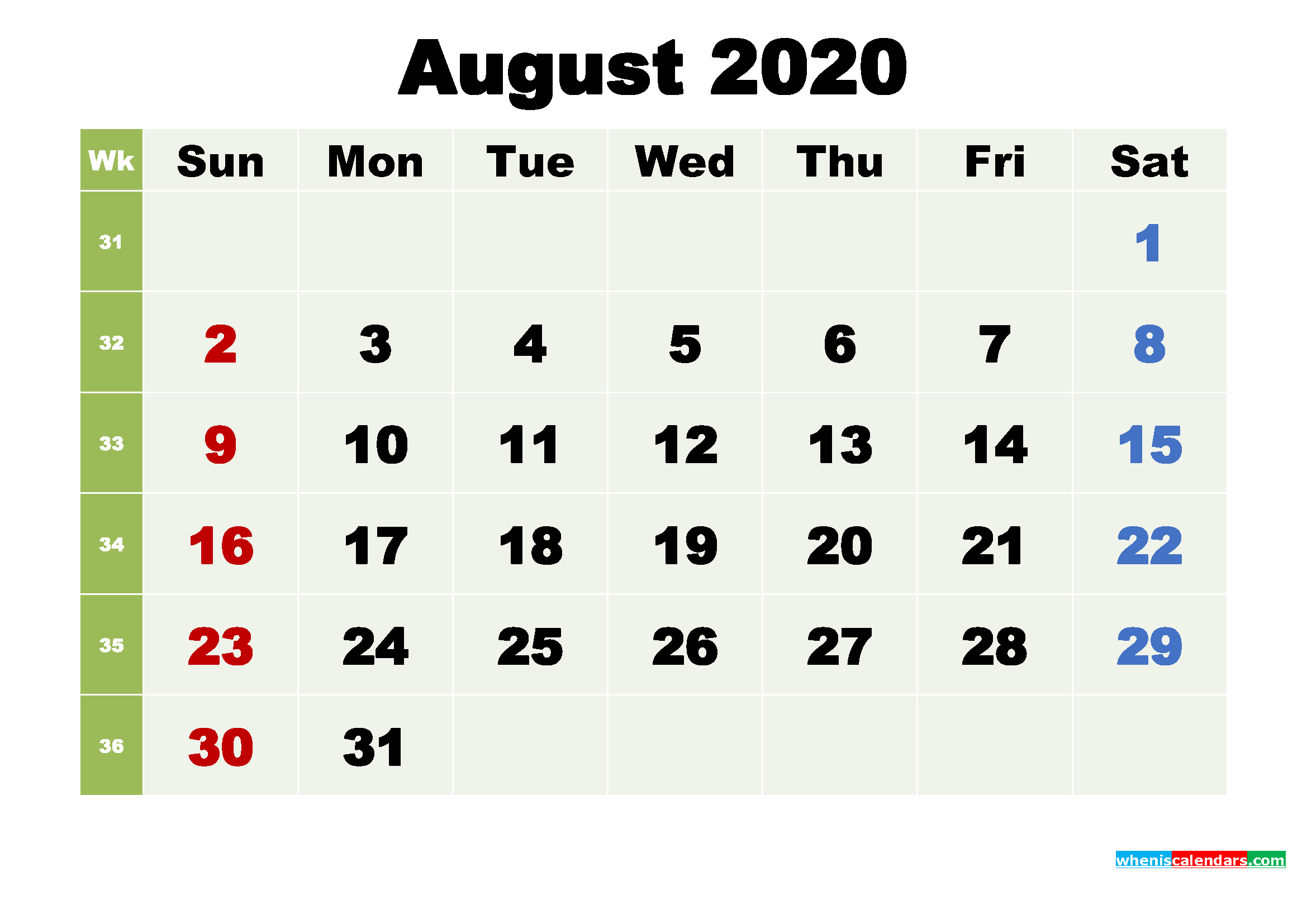 Printable August 2020 Calendar by Month