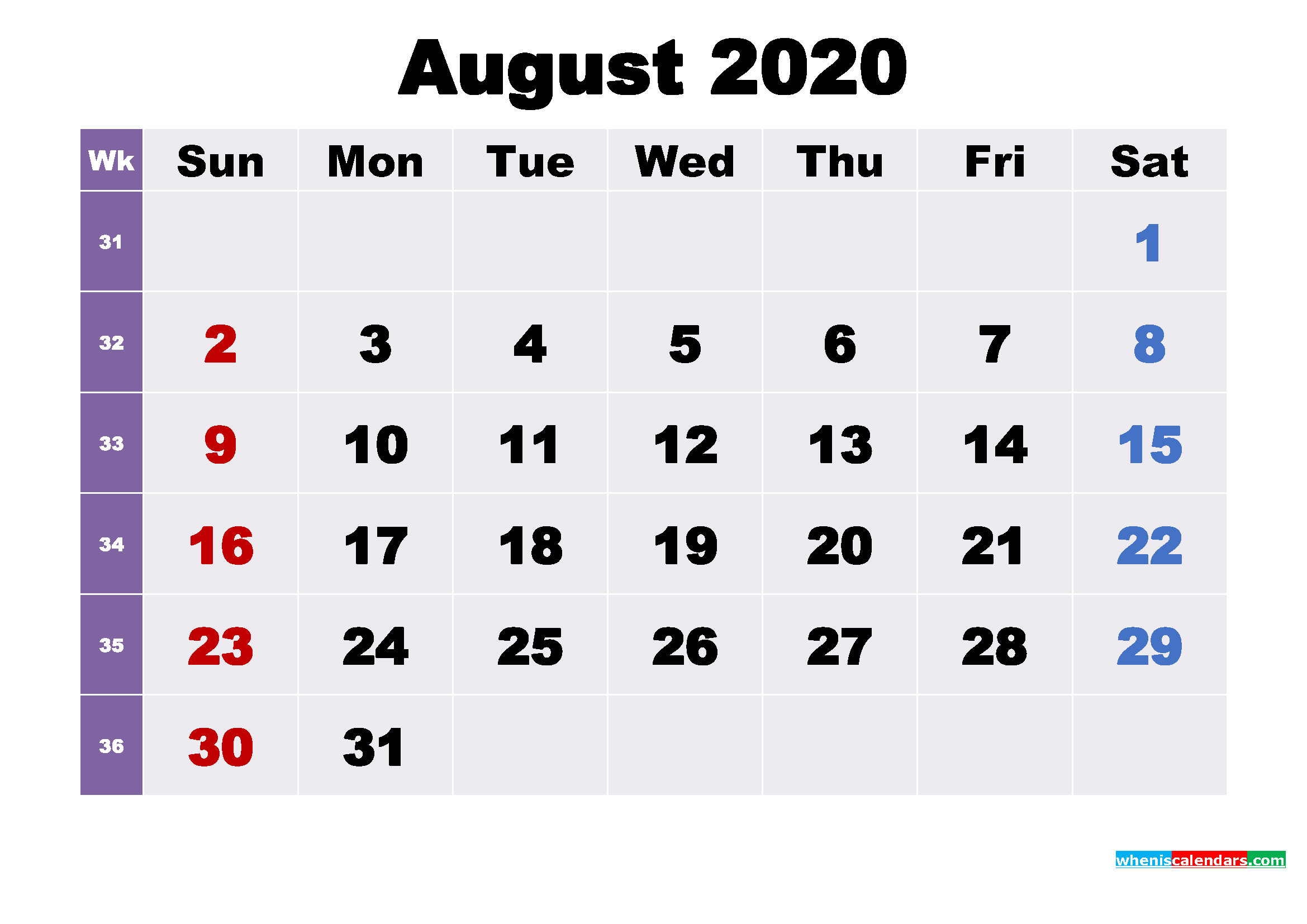 Printable 2020 Calendar by Month August