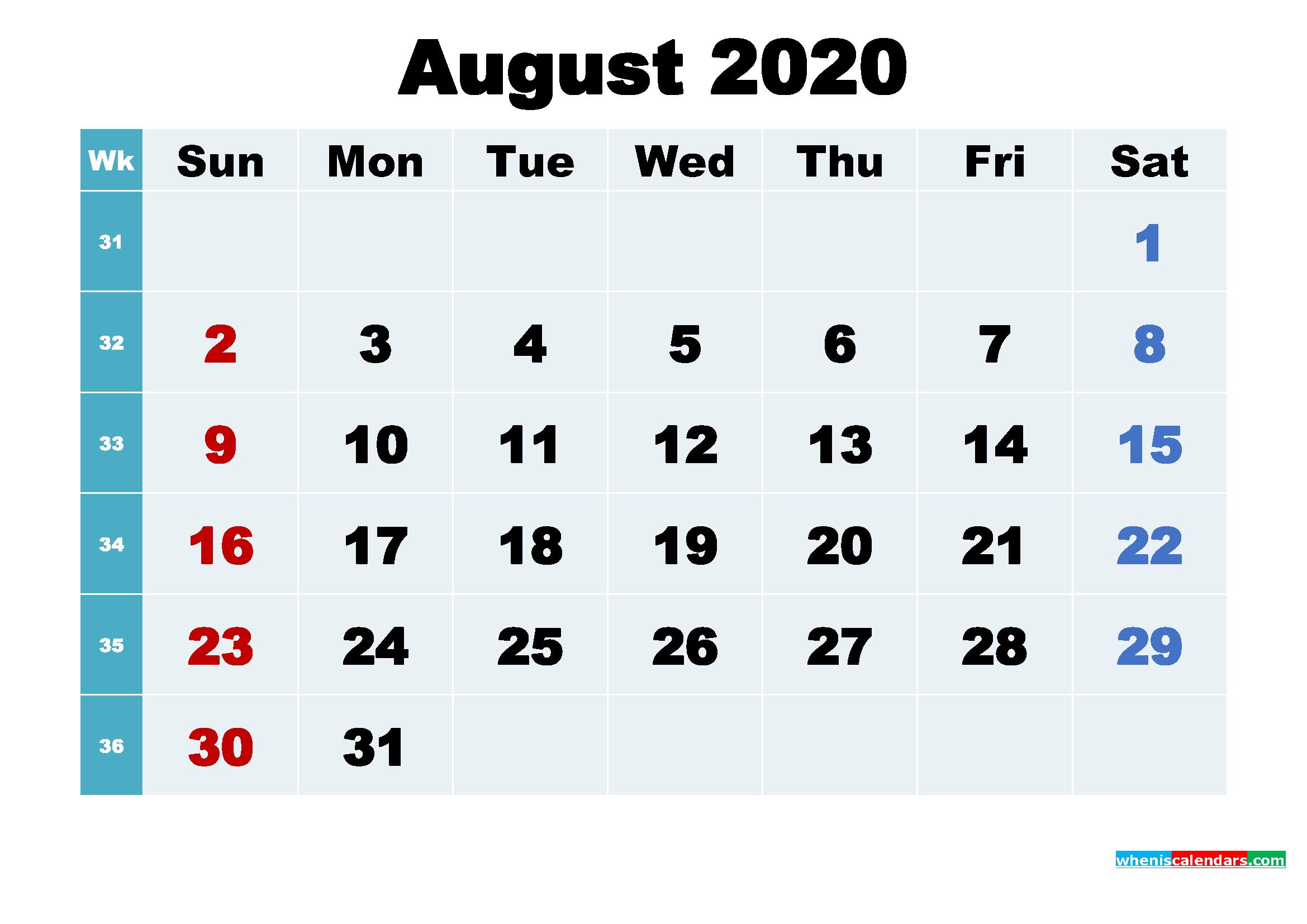 Printable 2020 Calendar with Holidays August