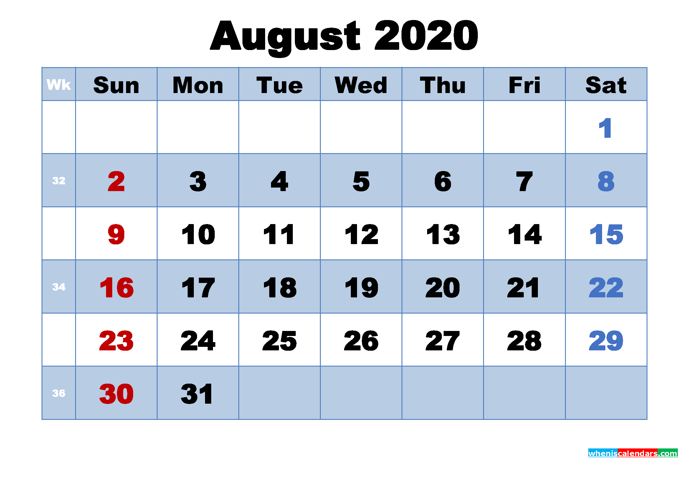 August 2020 Calendar with Holidays Printable