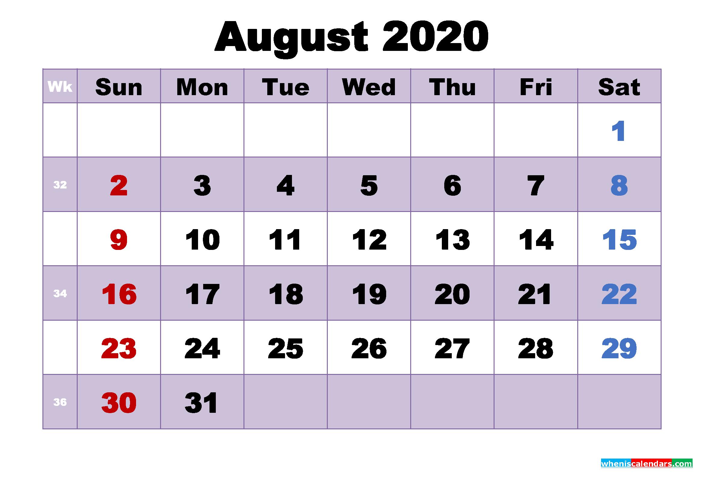 Free Printable August 2020 Calendar Word