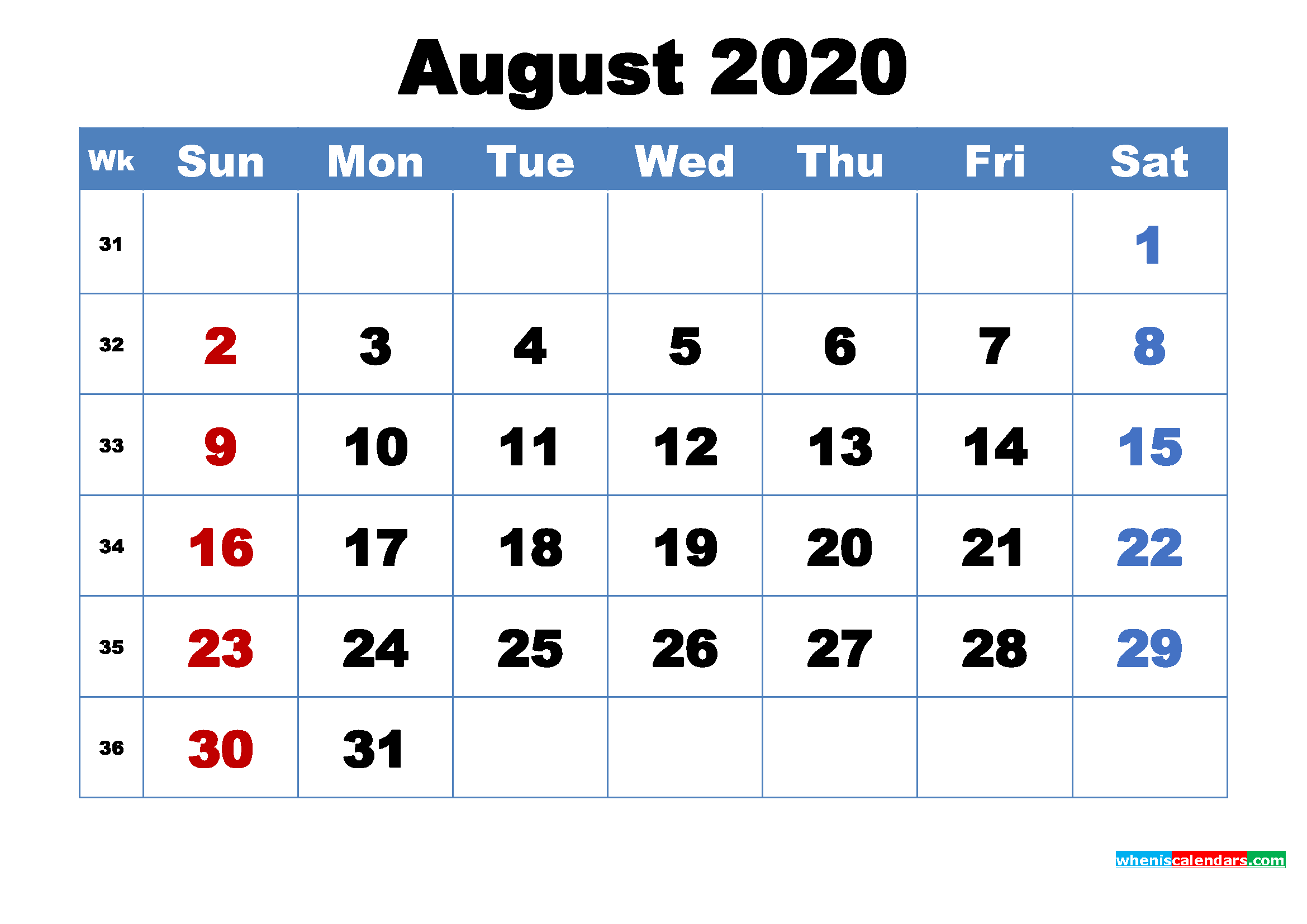 August 2020 Calendar Wallpaper Free Download