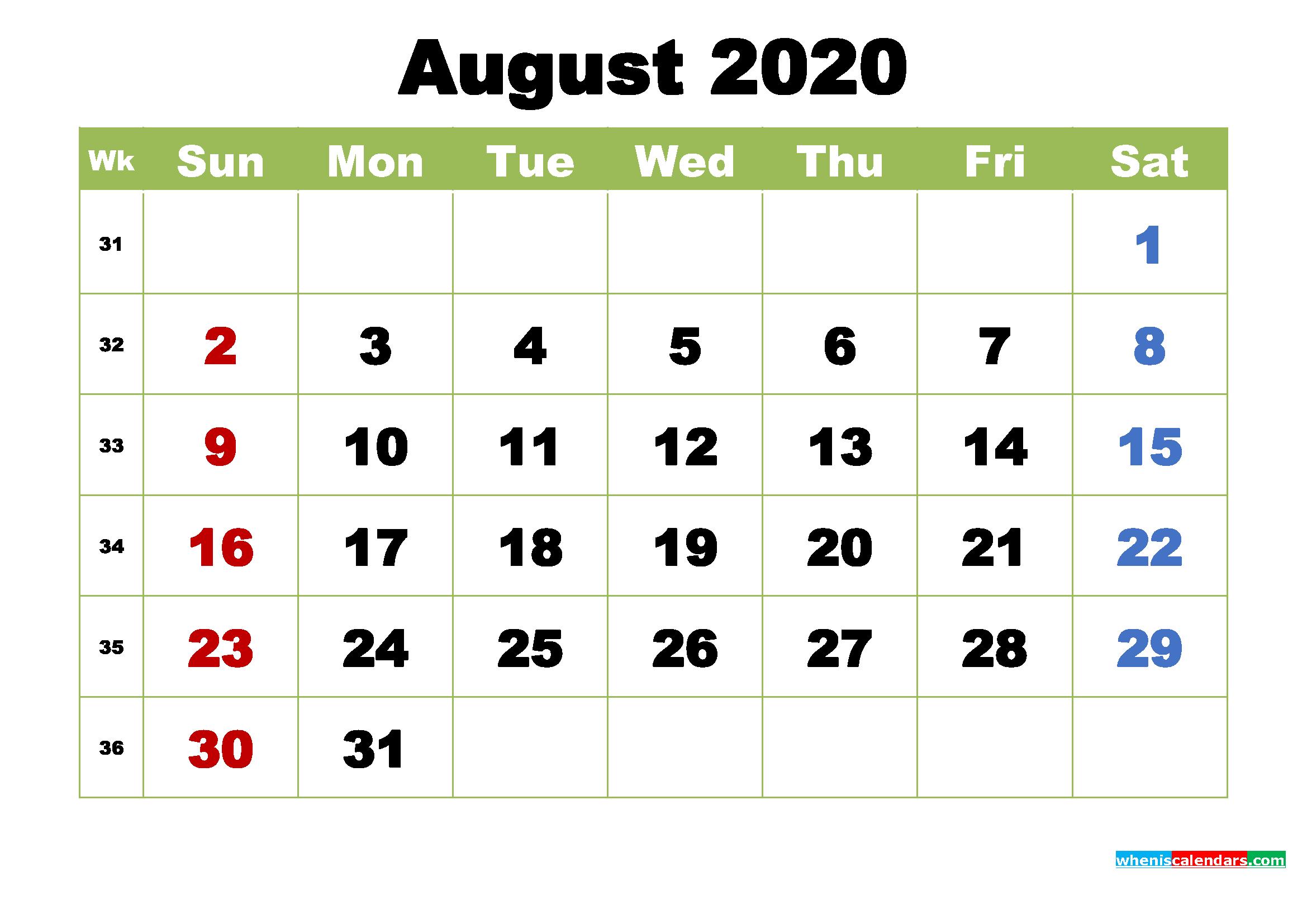 August 2020 Desktop Calendar with Holidays