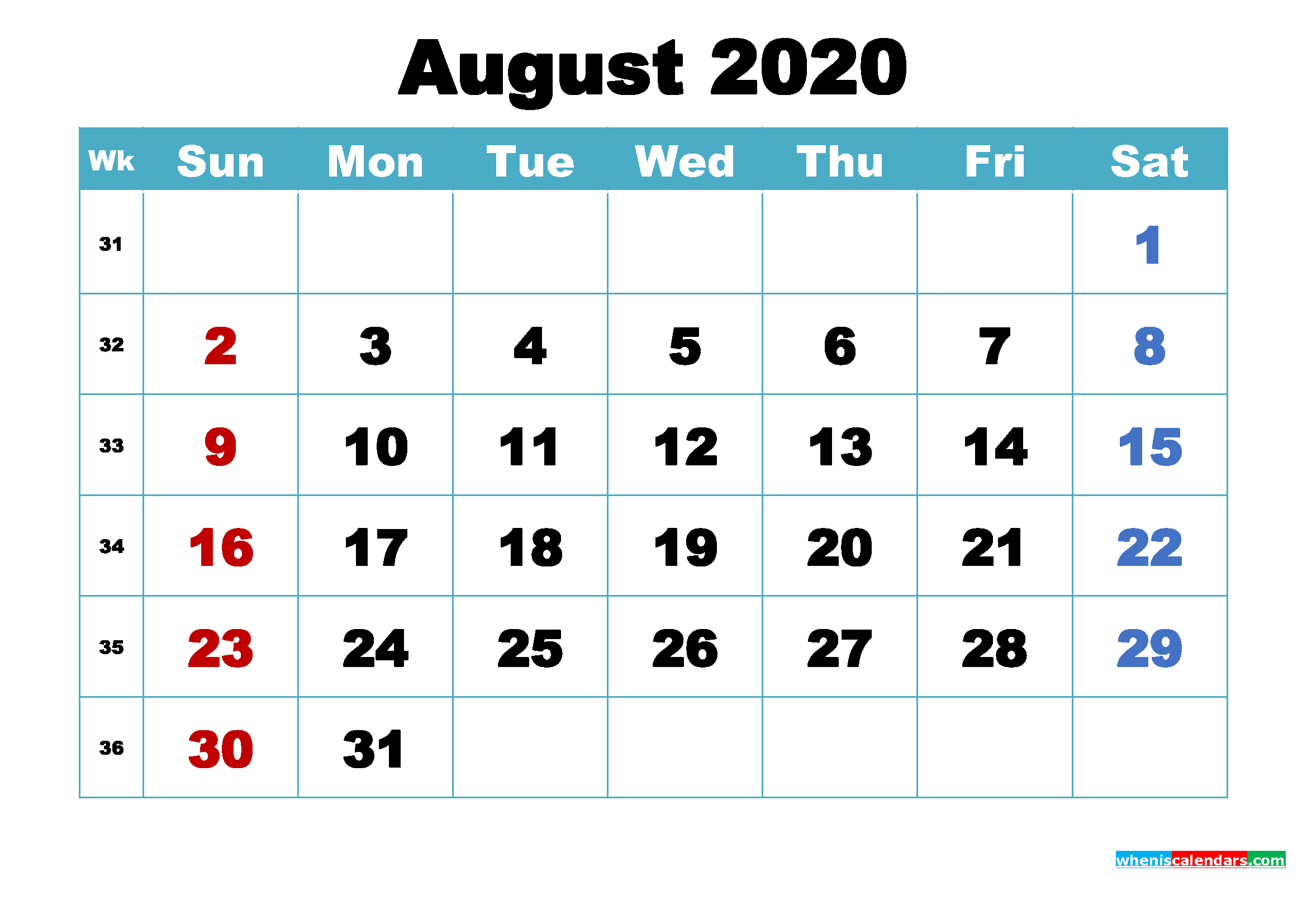 Printable August 2020 Calendar Word