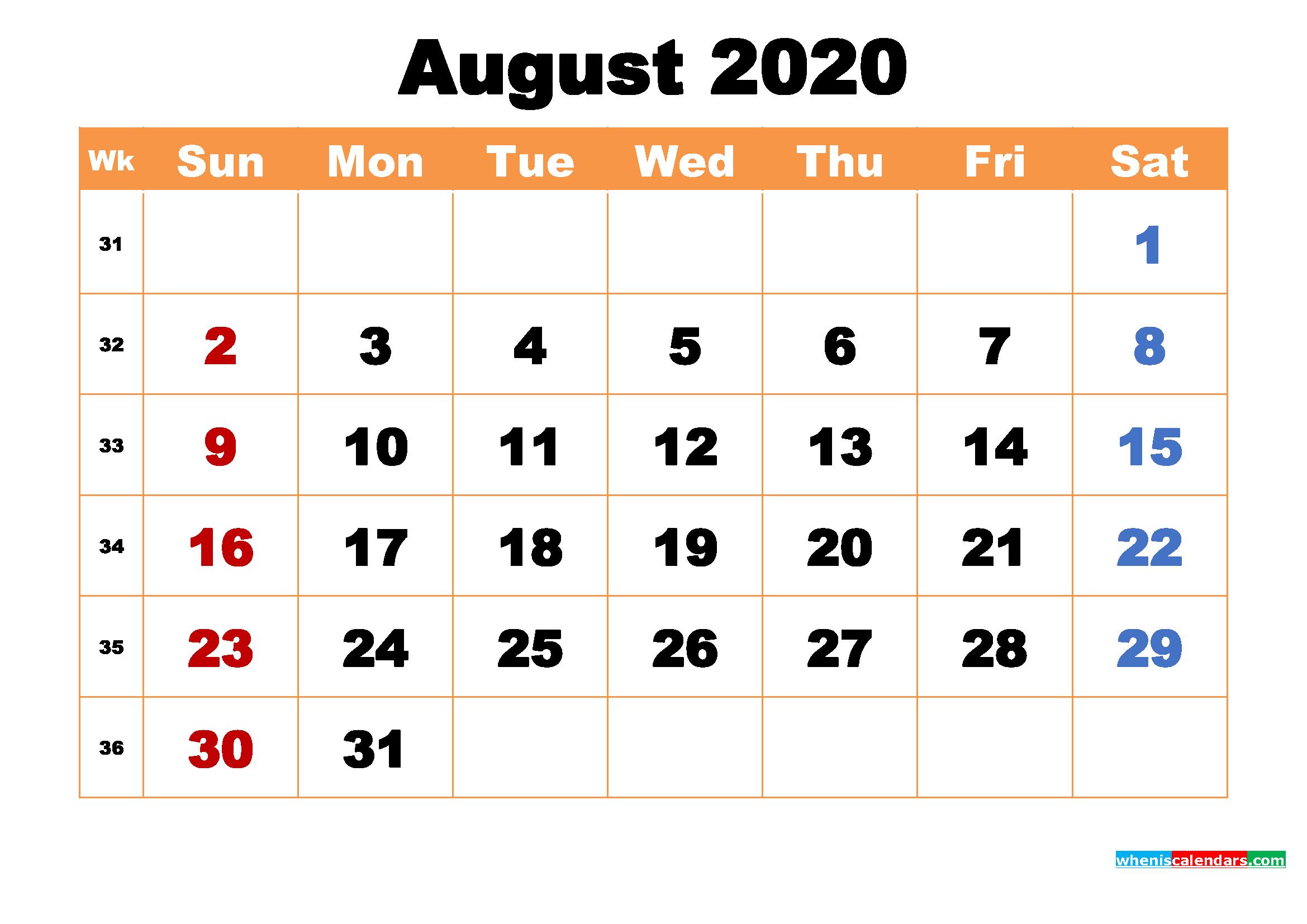 August 2020 Desktop Calendar Free Download