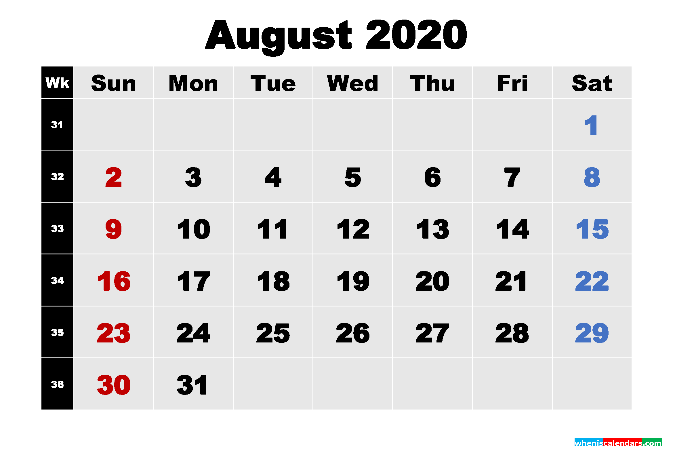 Printable 2020 Calendar with Holidays August