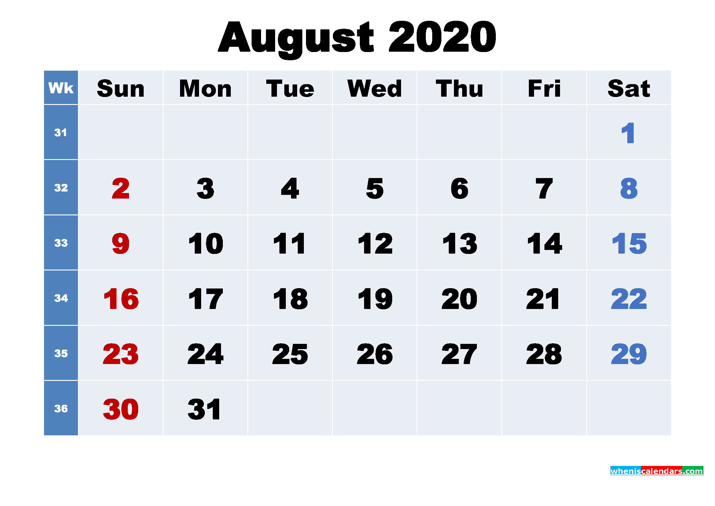 Free Printable 2020 Calendar with Holidays August