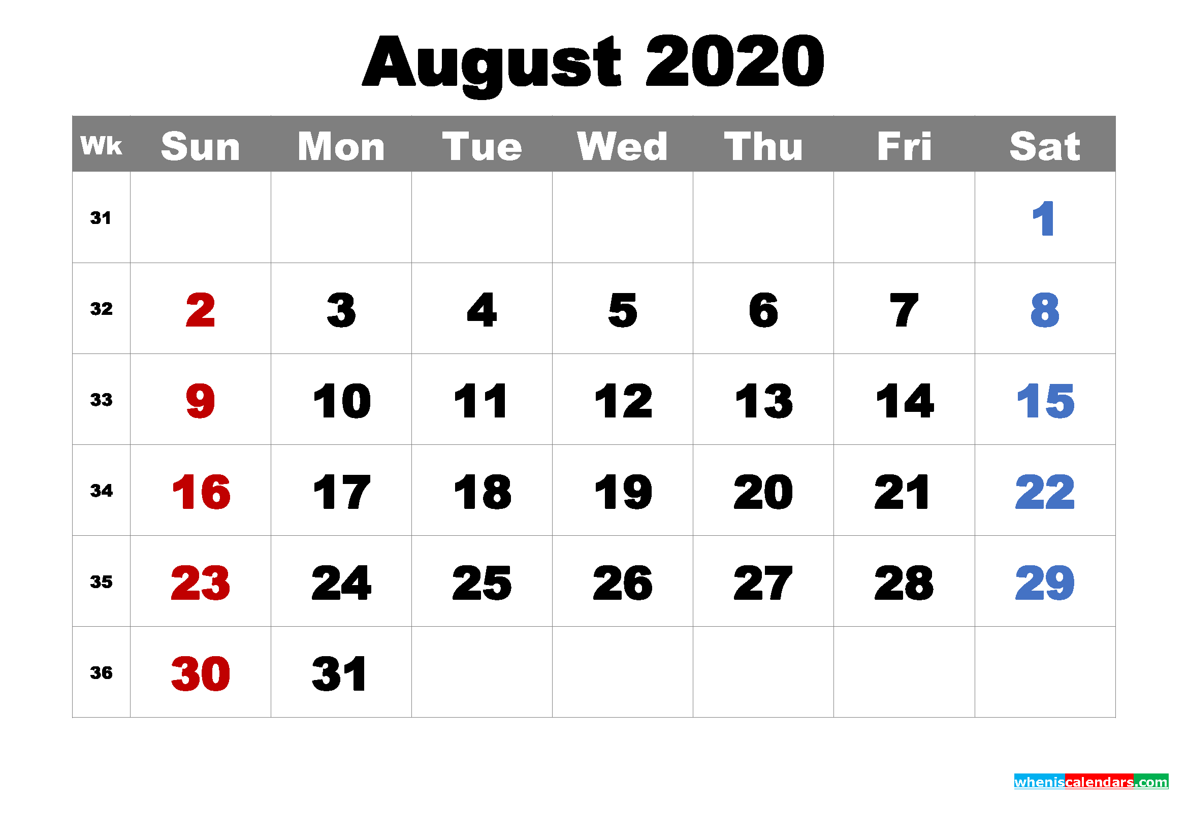 Printable Calendar August 2020 with Holidays as Word, PDF