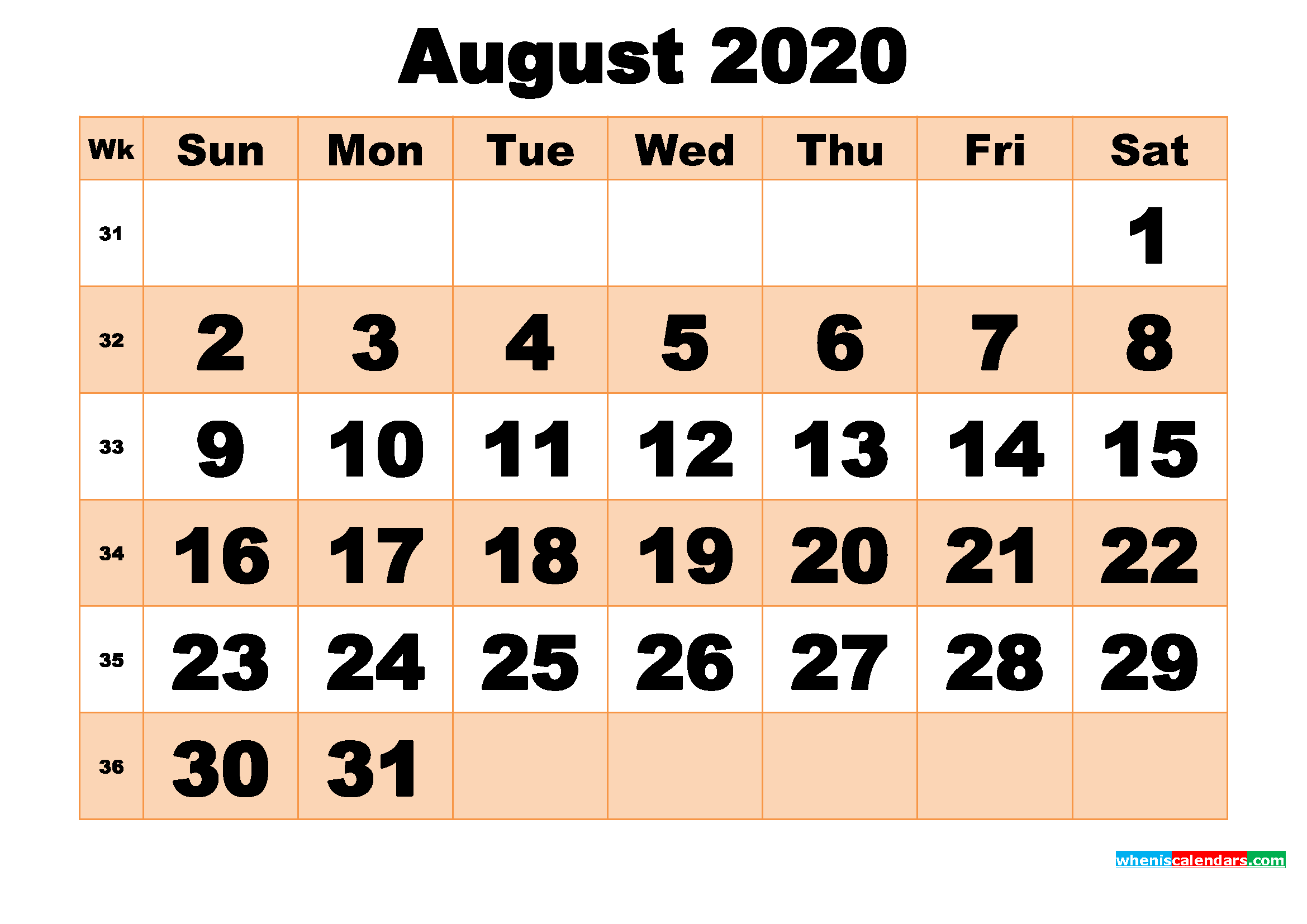 Free Printable August 2020 Calendar Template Word, PDF