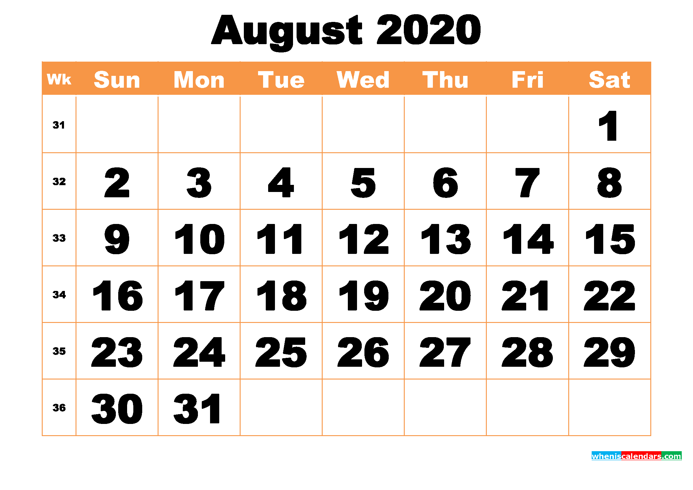 Free Printable August 2020 Calendar Word, PDF, Image