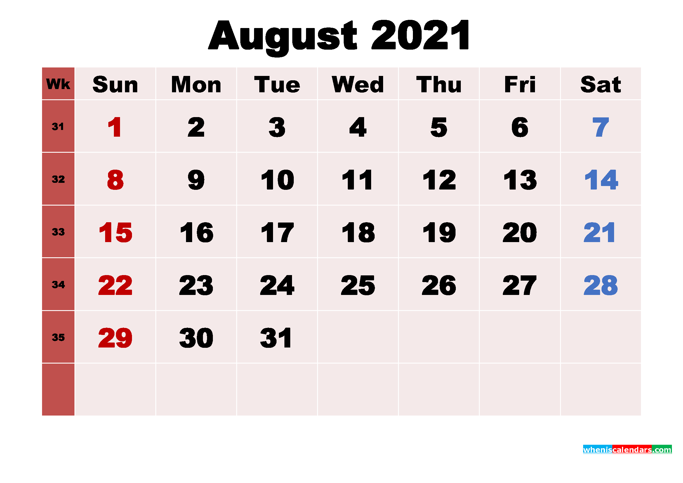 Free Printable 2021 Monthly Calendar with Holidays August
