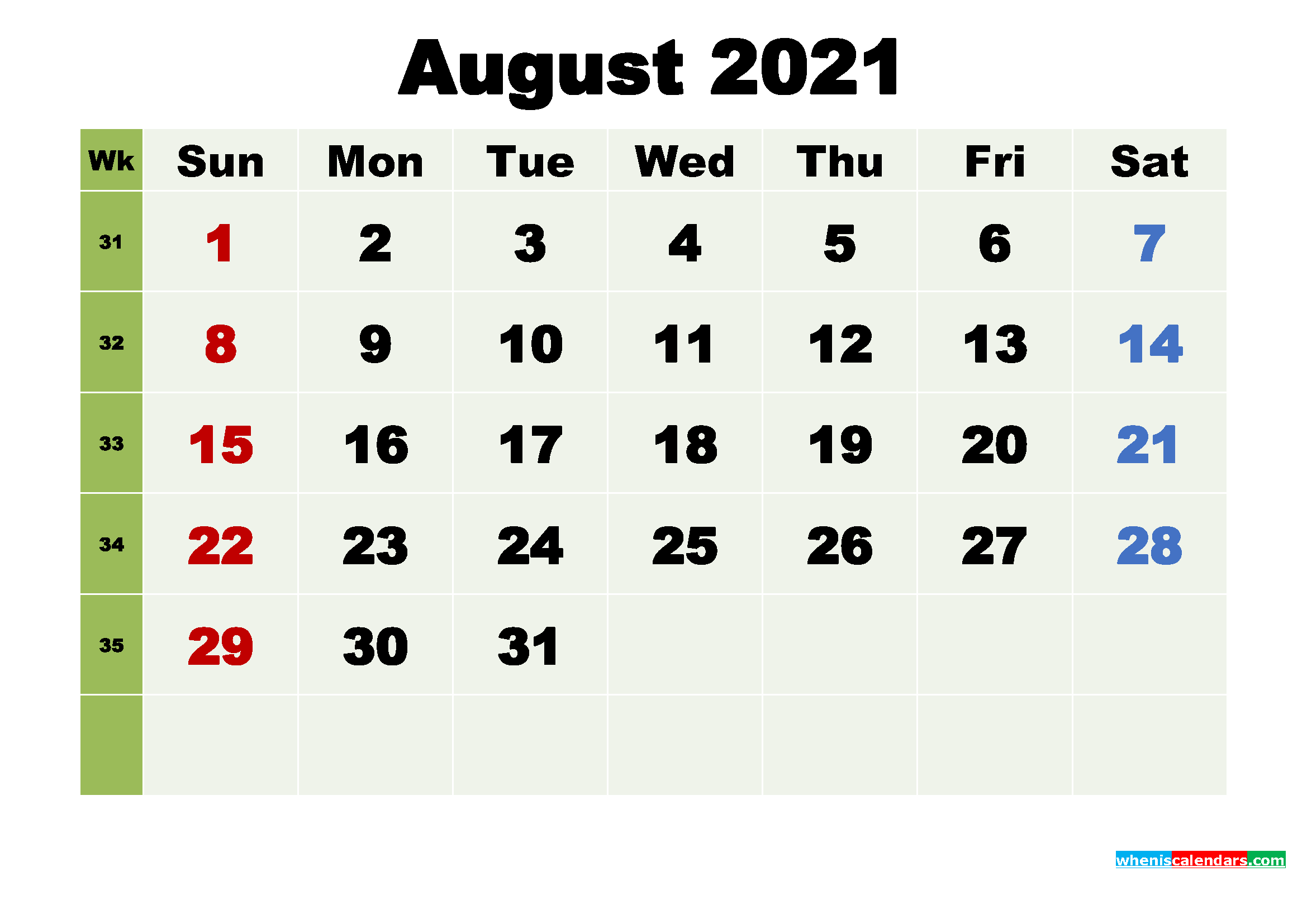 Free August 2021 Desktop Calendar High Resolution