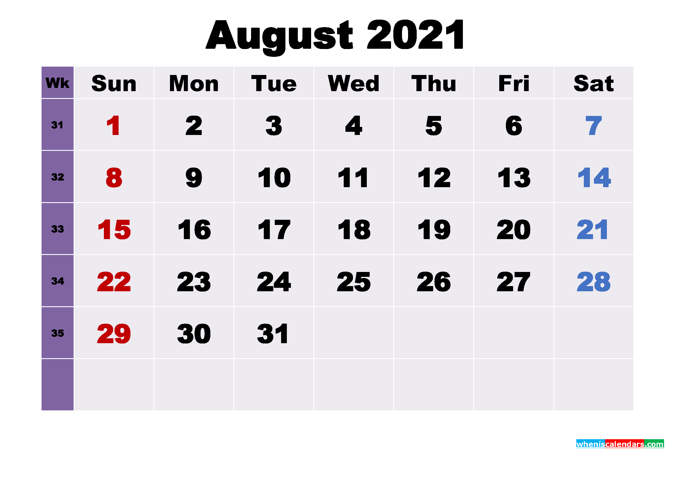 Printable 2021 Calendar by Month August