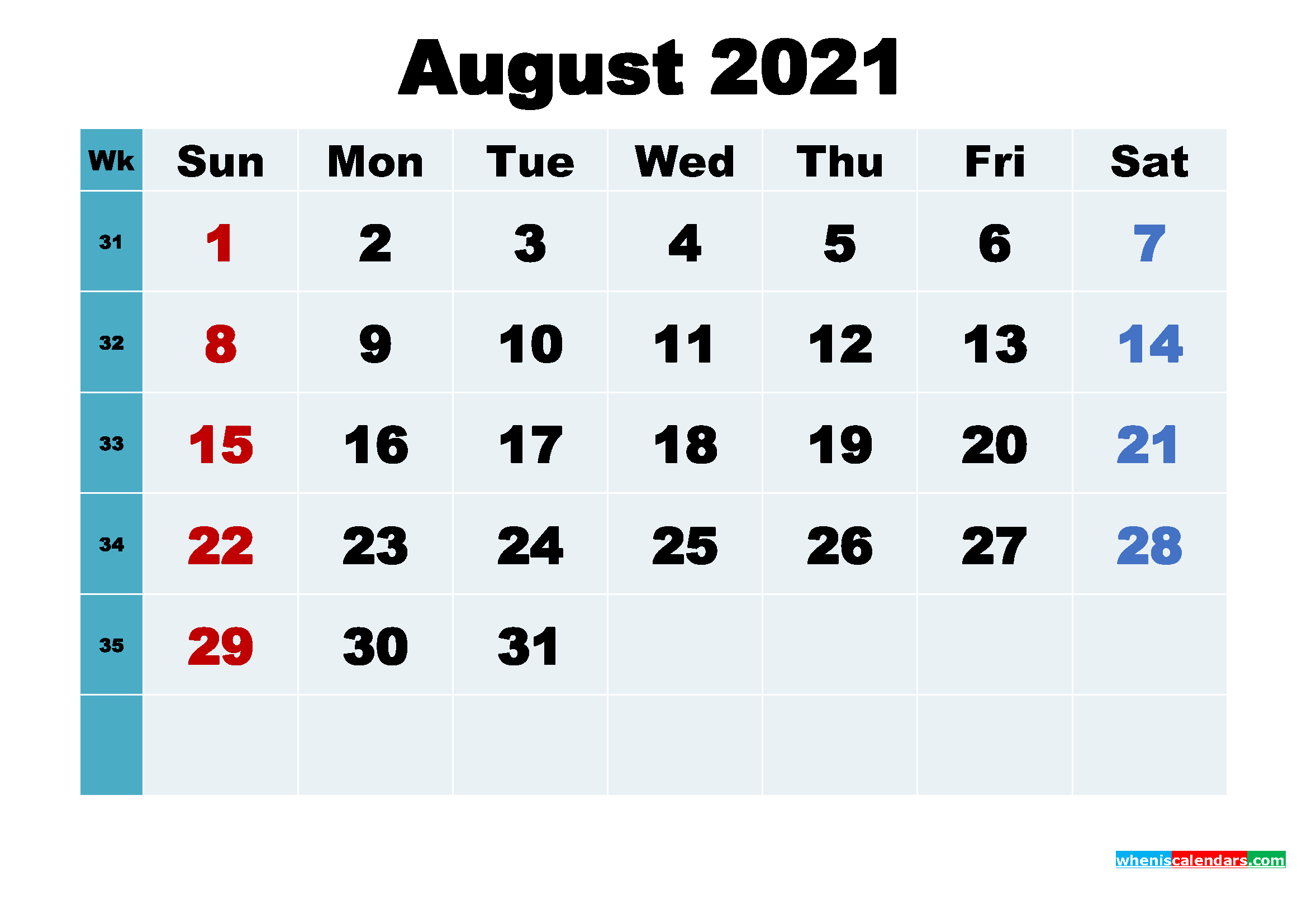 Free August 2021 Printable Calendar with Holidays - Free ...
