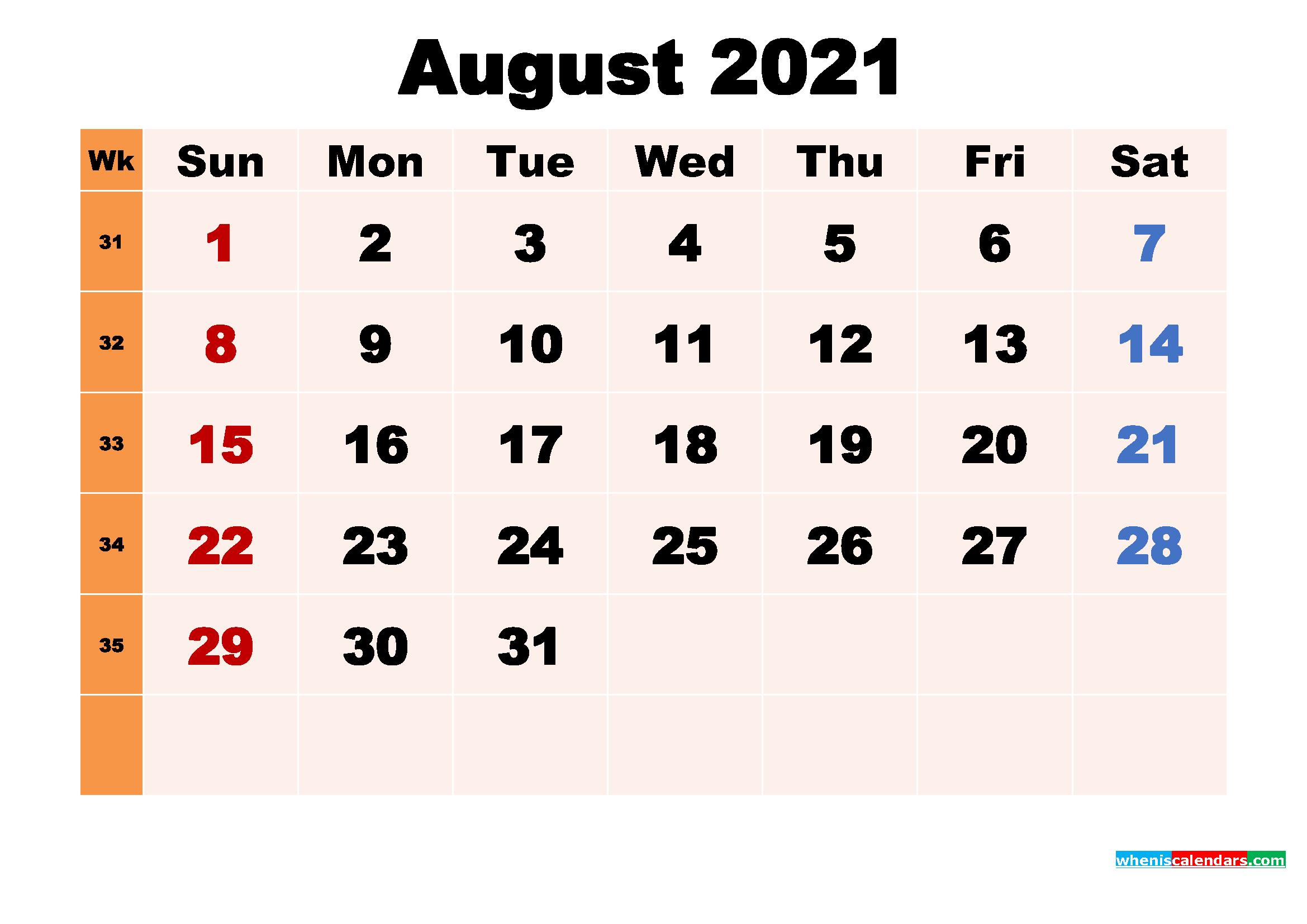 August 2021 Calendar Wallpaper Free Download