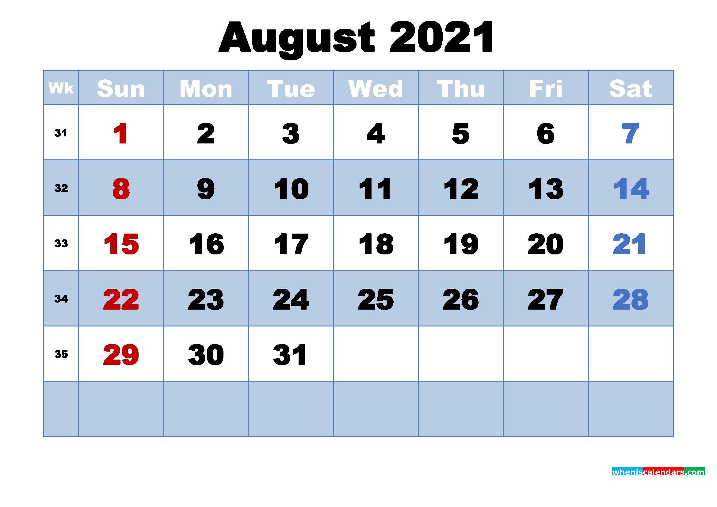 August 2021 Desktop Calendar Monthly