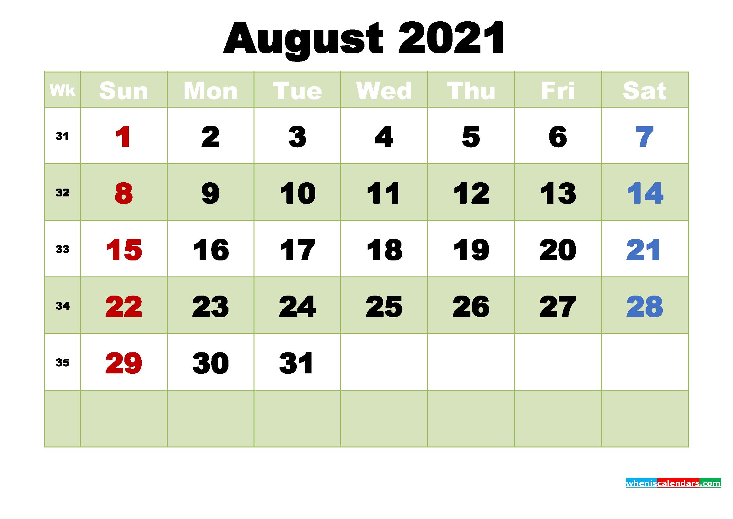 Free August 2021 Printable Calendar Template Word, PDF ...