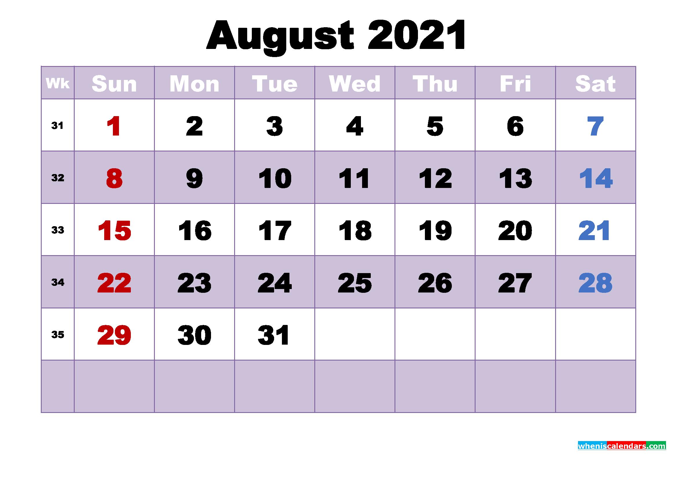 August 2021 Desktop Calendar High Resolution
