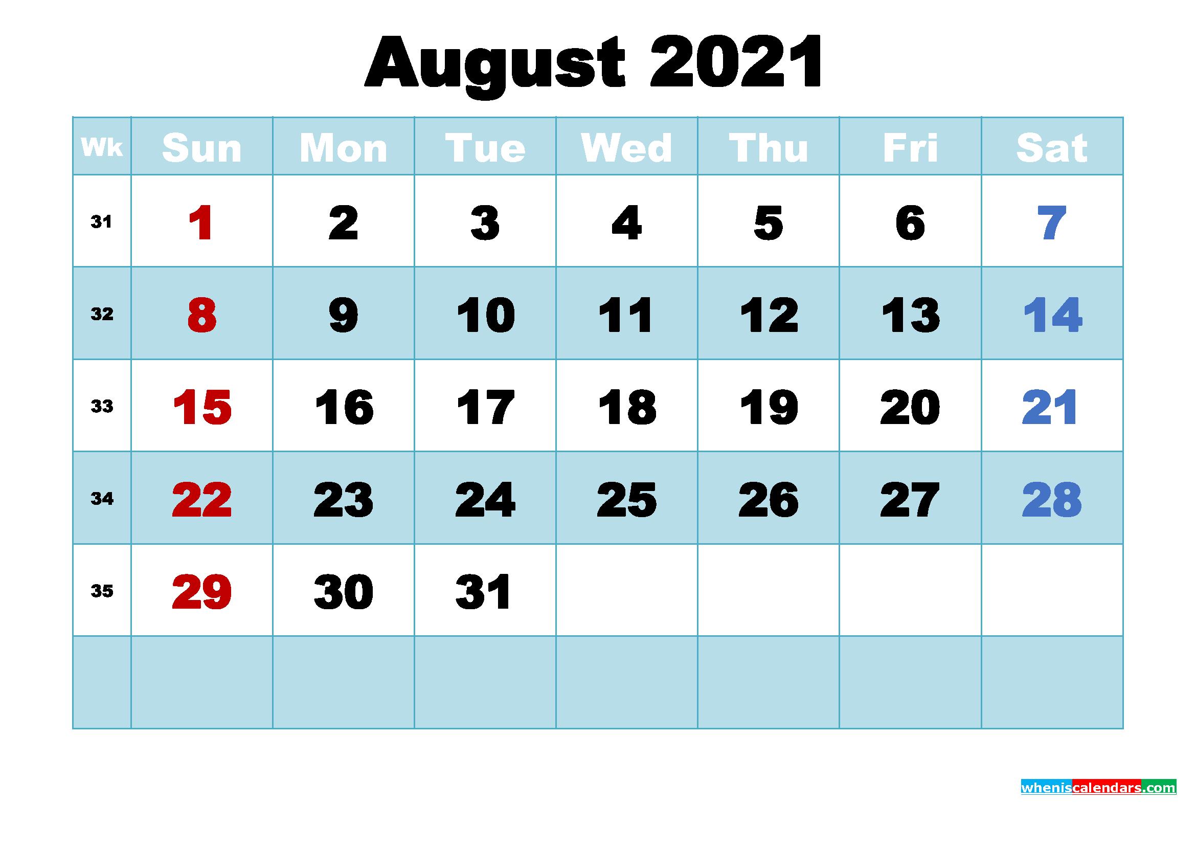 August 2021 Calendar Wallpaper High Resolution