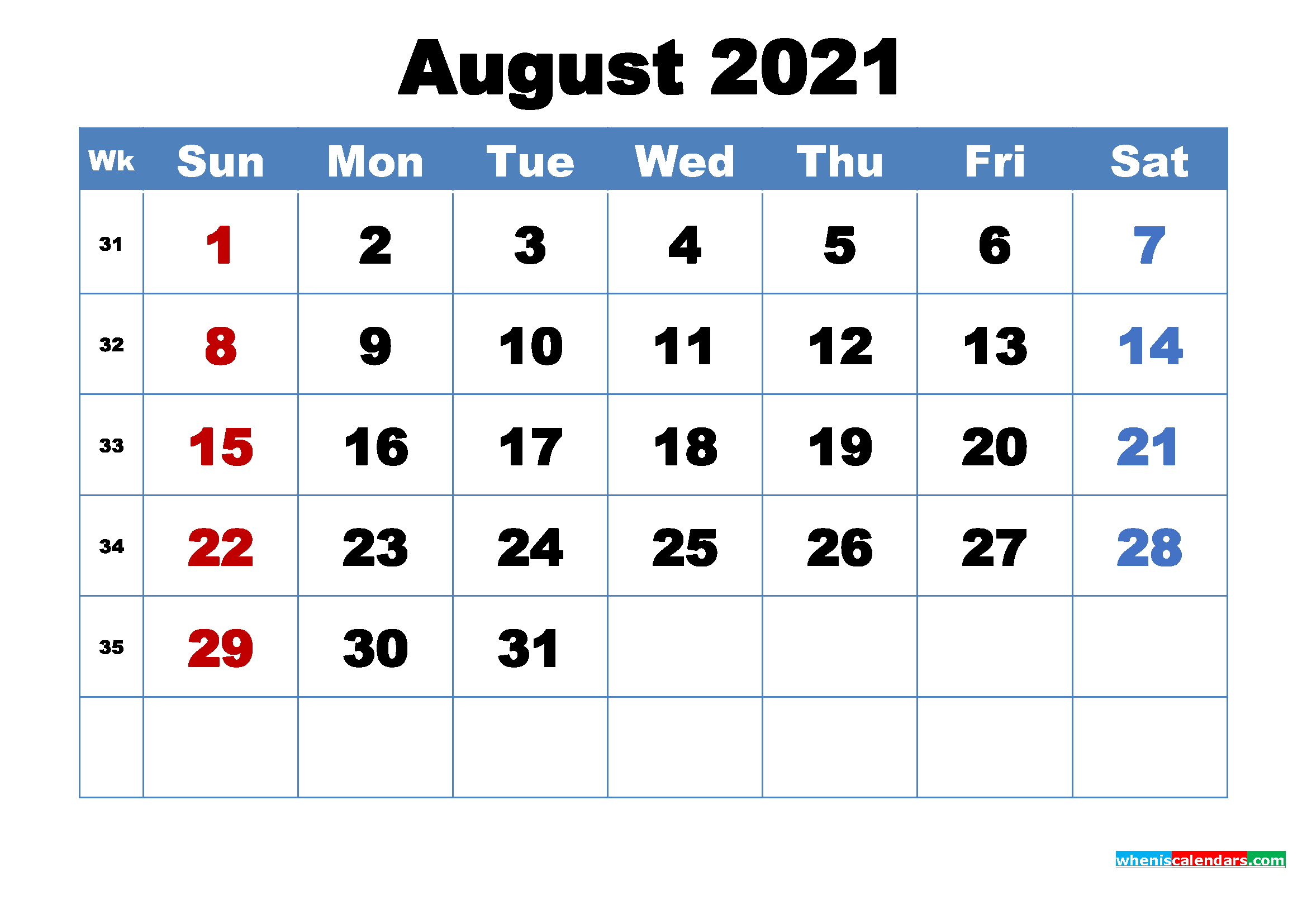 August 2021 Desktop Calendar Free Download