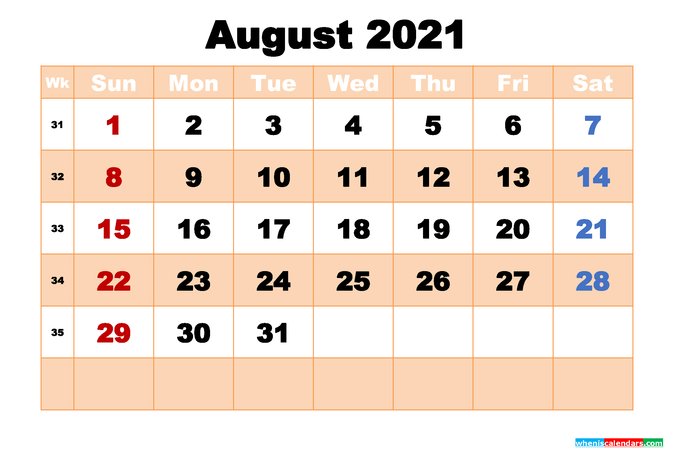 August 2021 Calendar with Holidays Wallpaper