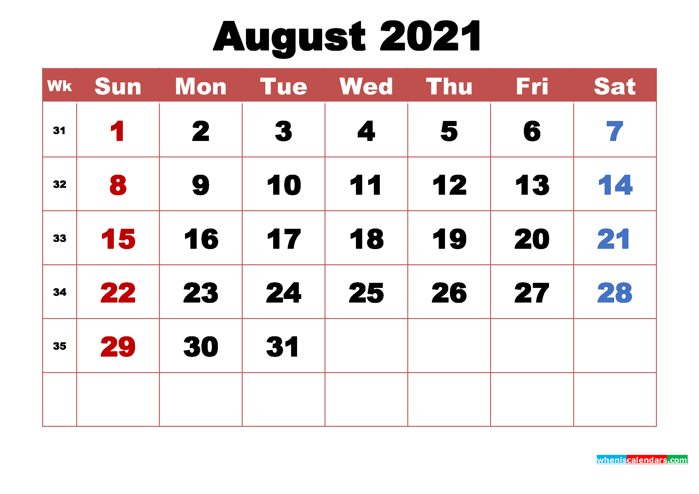 August 2021 Calendar with Holidays Printable