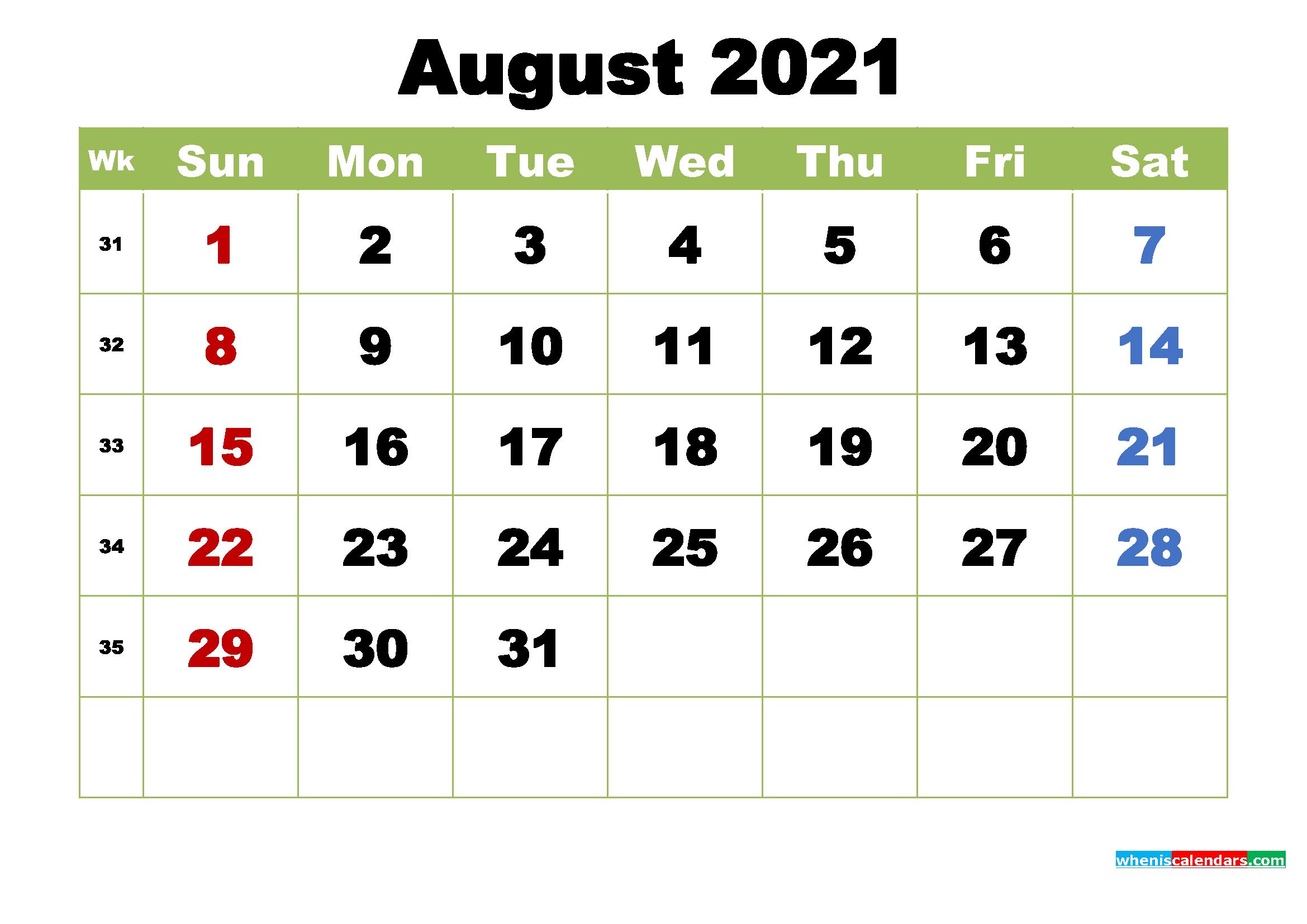 August 2021 Calendar with Holidays Wallpaper