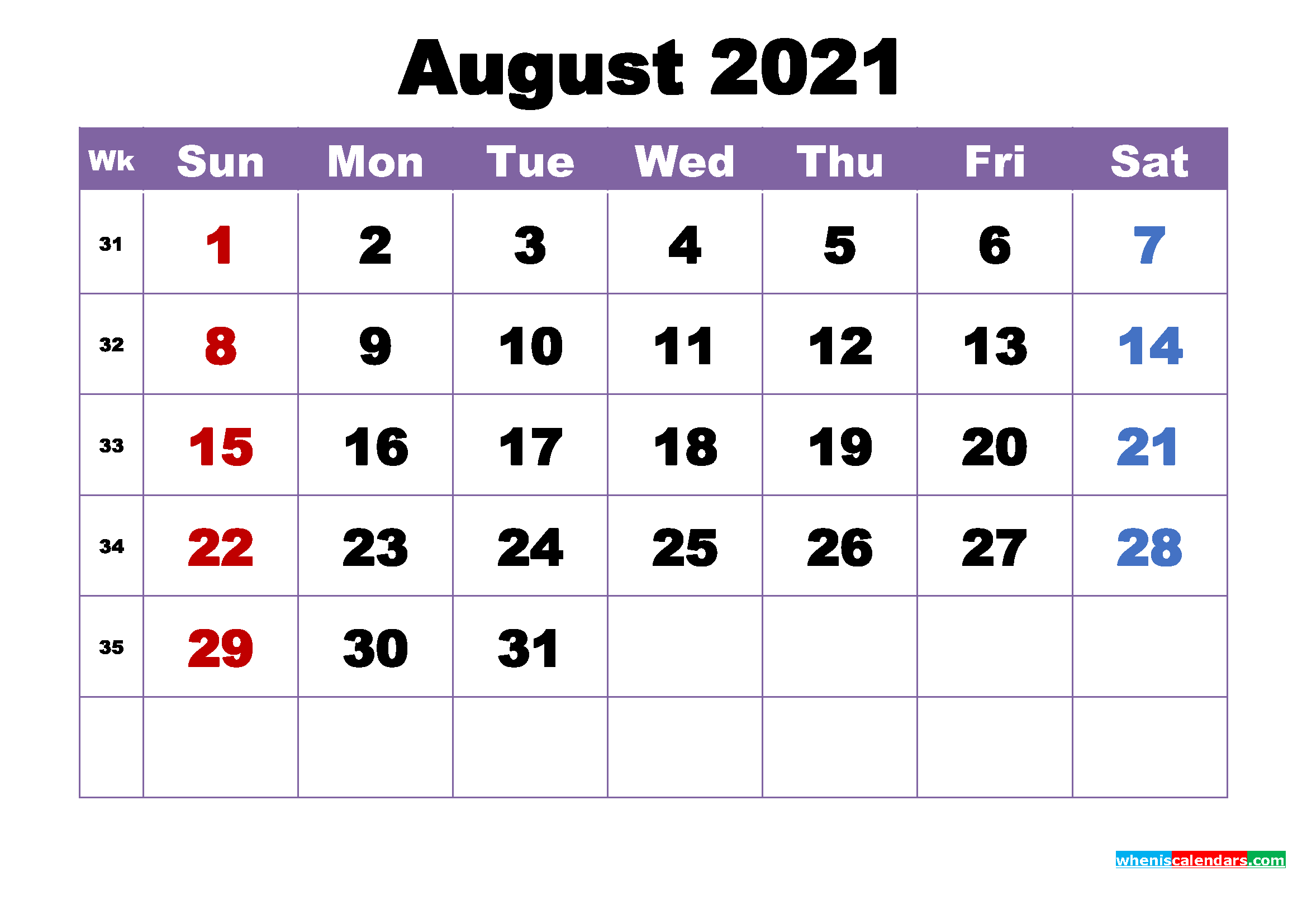Free Printable August 2021 Calendar Wallpaper