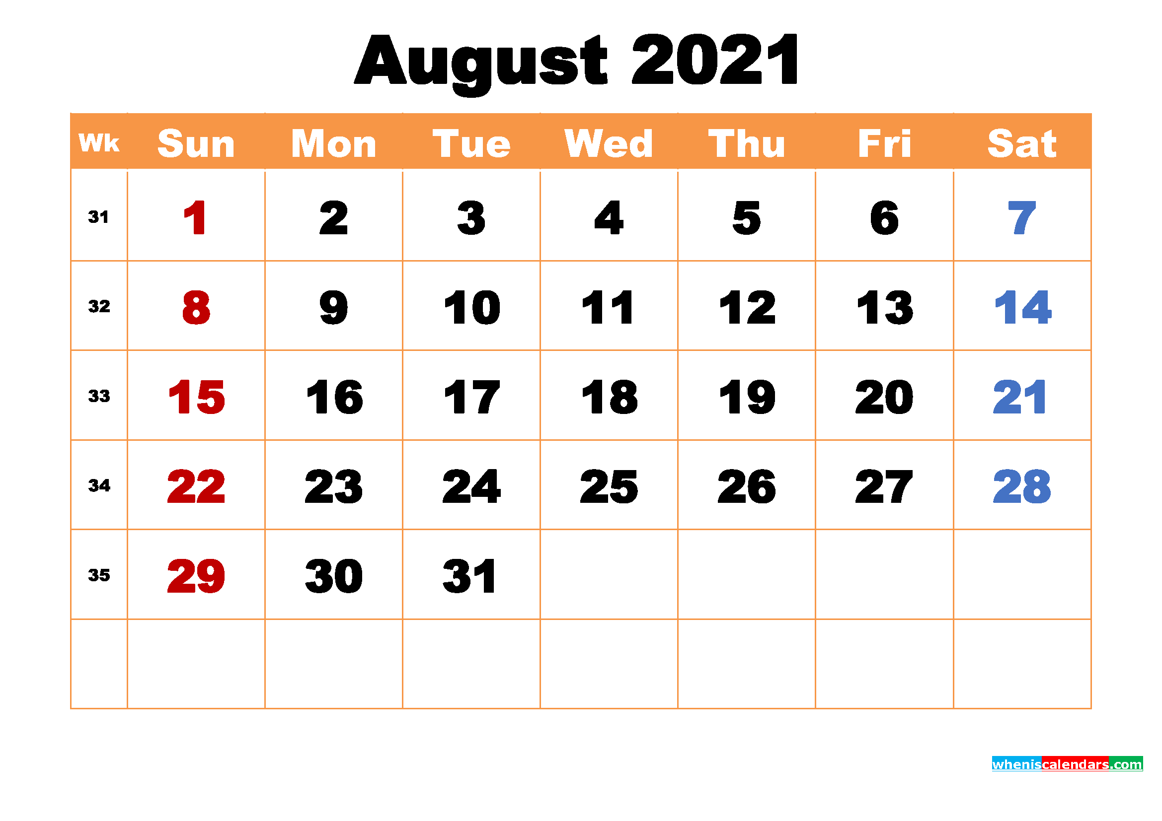 August 2021 Desktop Calendar Free Download – Free 2020 and 2021
