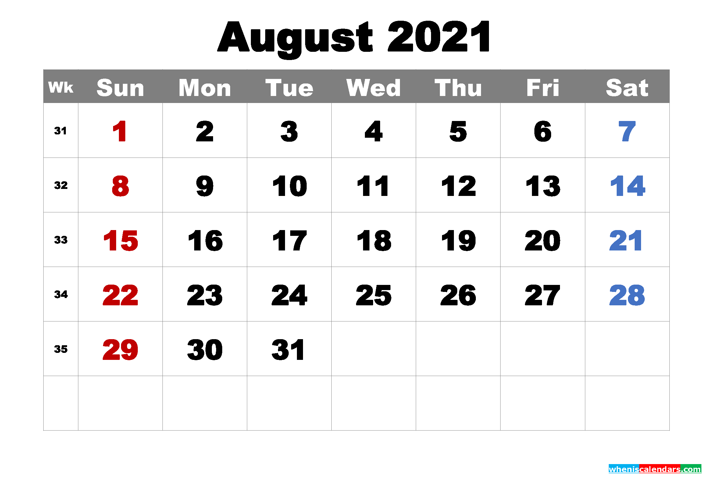 Printable August 2021 Calendar by Month
