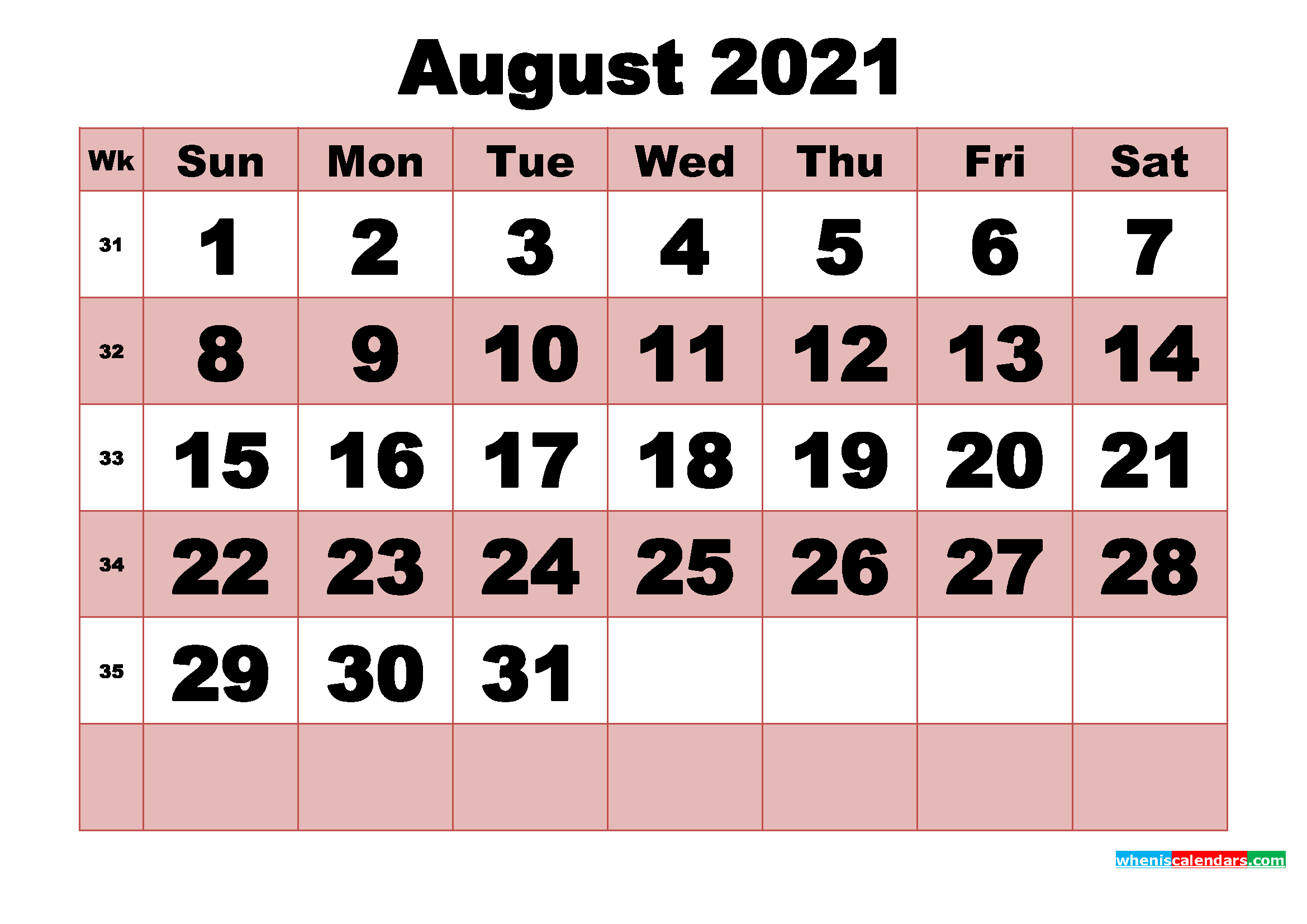 Free Printable Monthly Calendar August 2021
