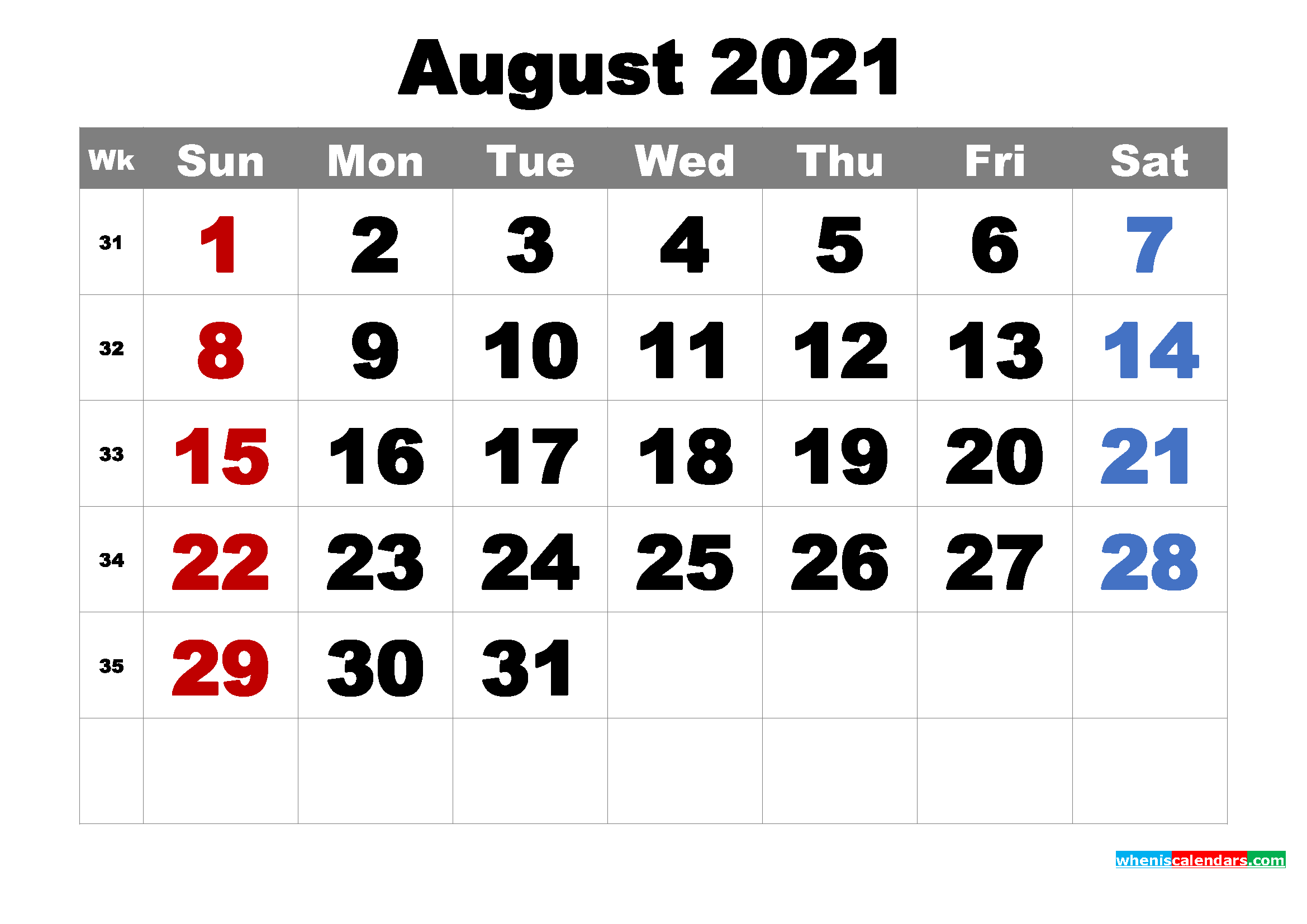 Free Printable August 2021 Calendar Word, PDF, Image ...