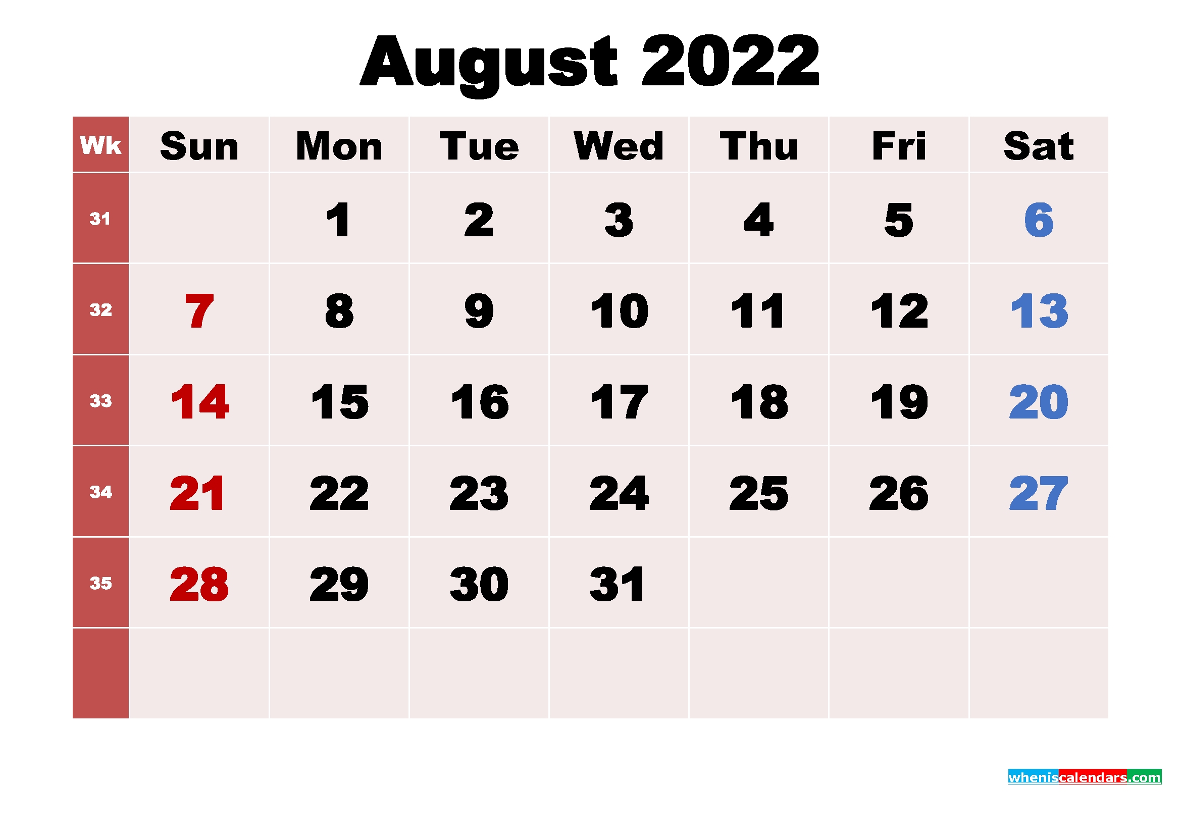 Free Printable 2022 Monthly Calendar with Holidays August