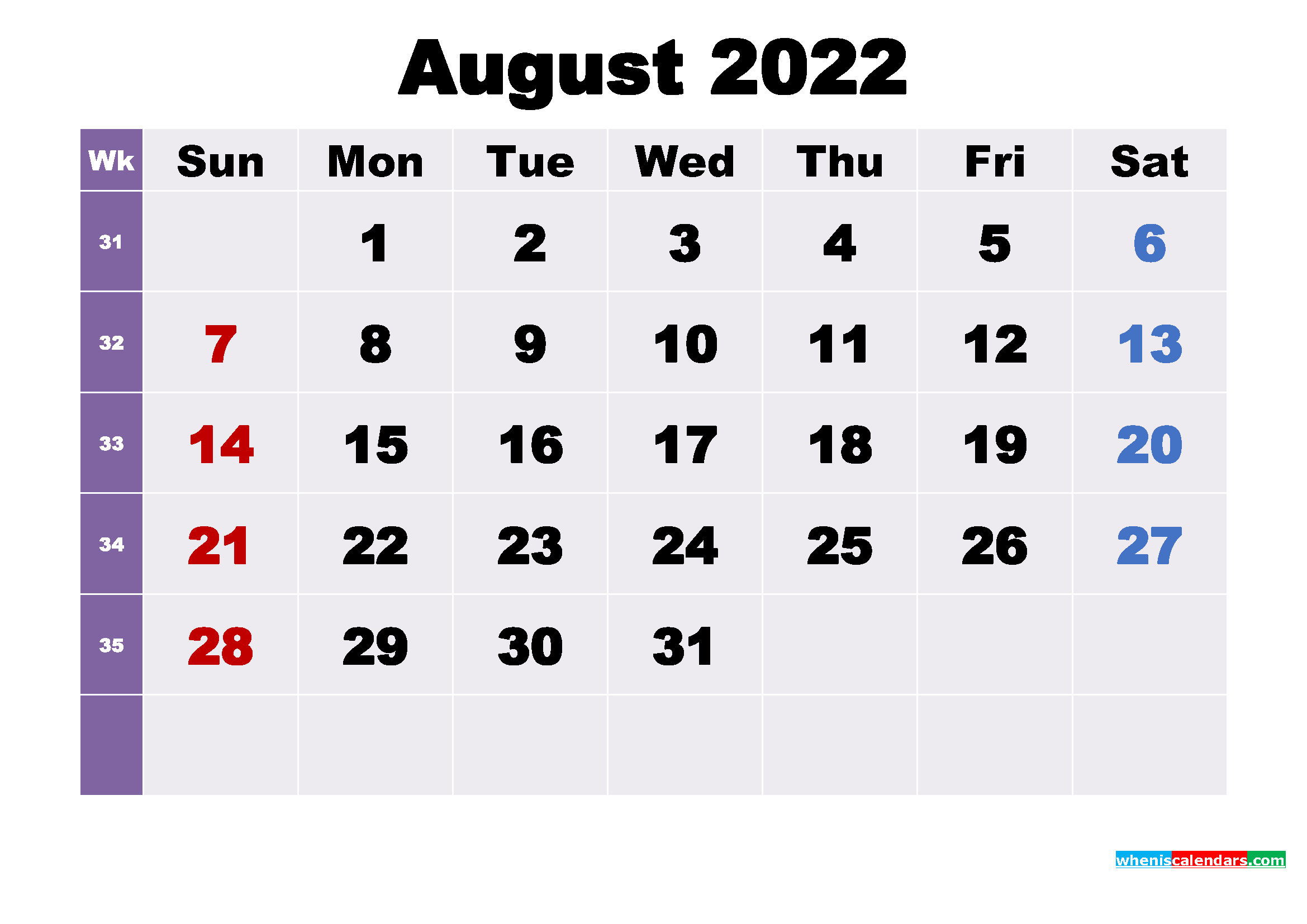 August 2022 Desktop Calendar Free Download