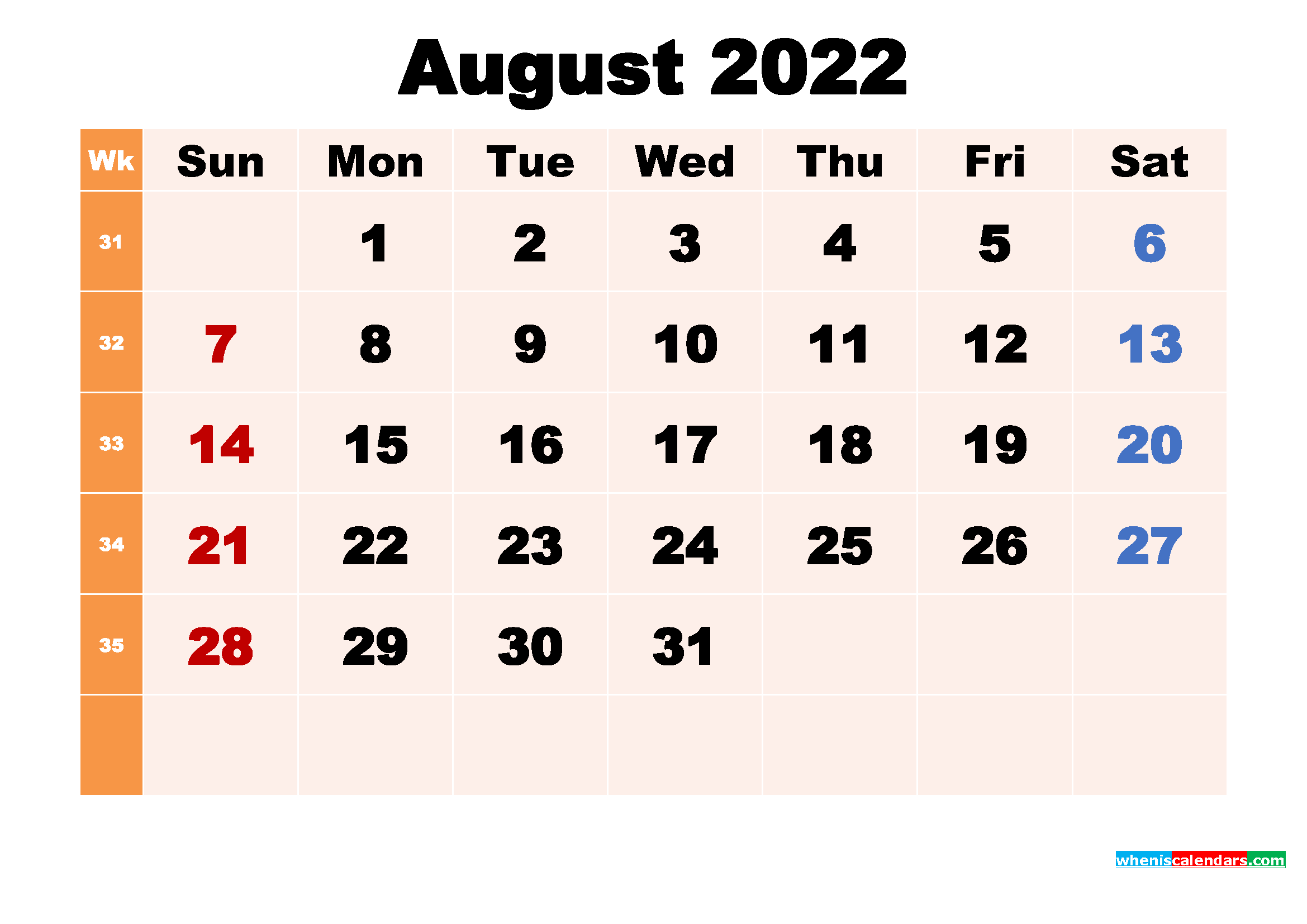 Free Printable 2022 Calendar with Holidays August